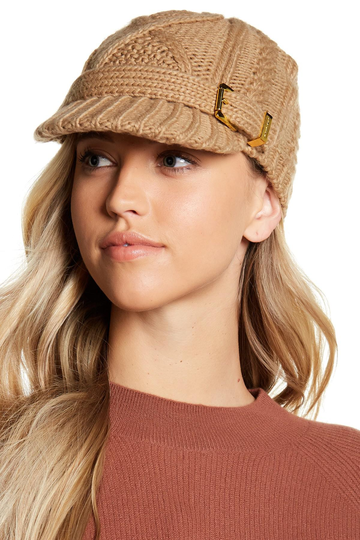 c122b0ead52 ... australia lyst michael michael kors classic cable knit news boy hat in  natural 977d6 f2408