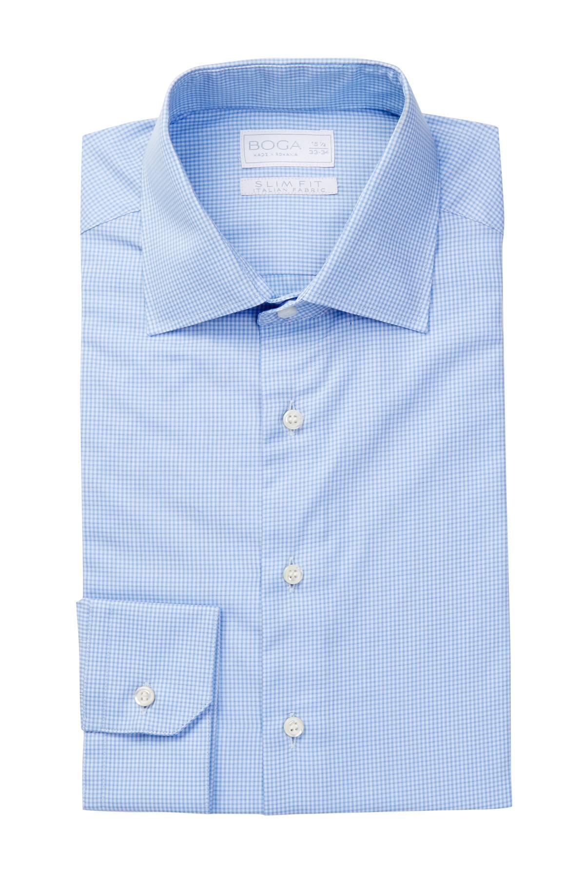 Boga long sleeve modern fit micro check dress shirt in for Modern fit dress shirt