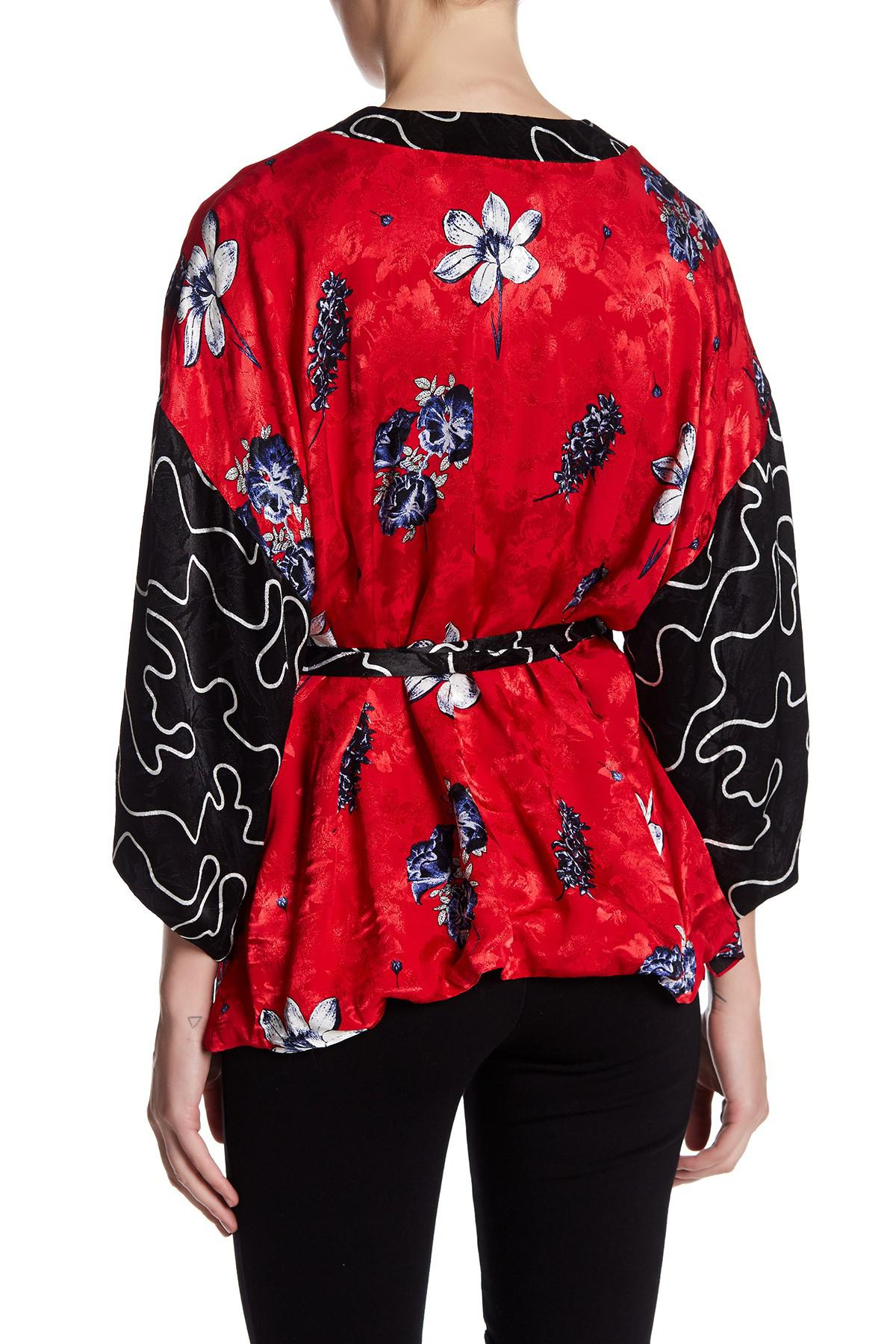 Topshop Floral Kimono Jacket in Red | Lyst