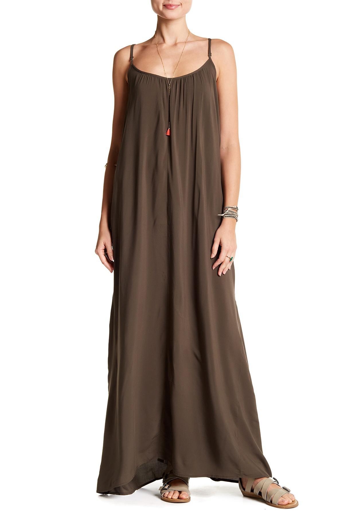 b7513ac549 Lyst - Love Stitch Challis Strappy Maxi Dress in Green