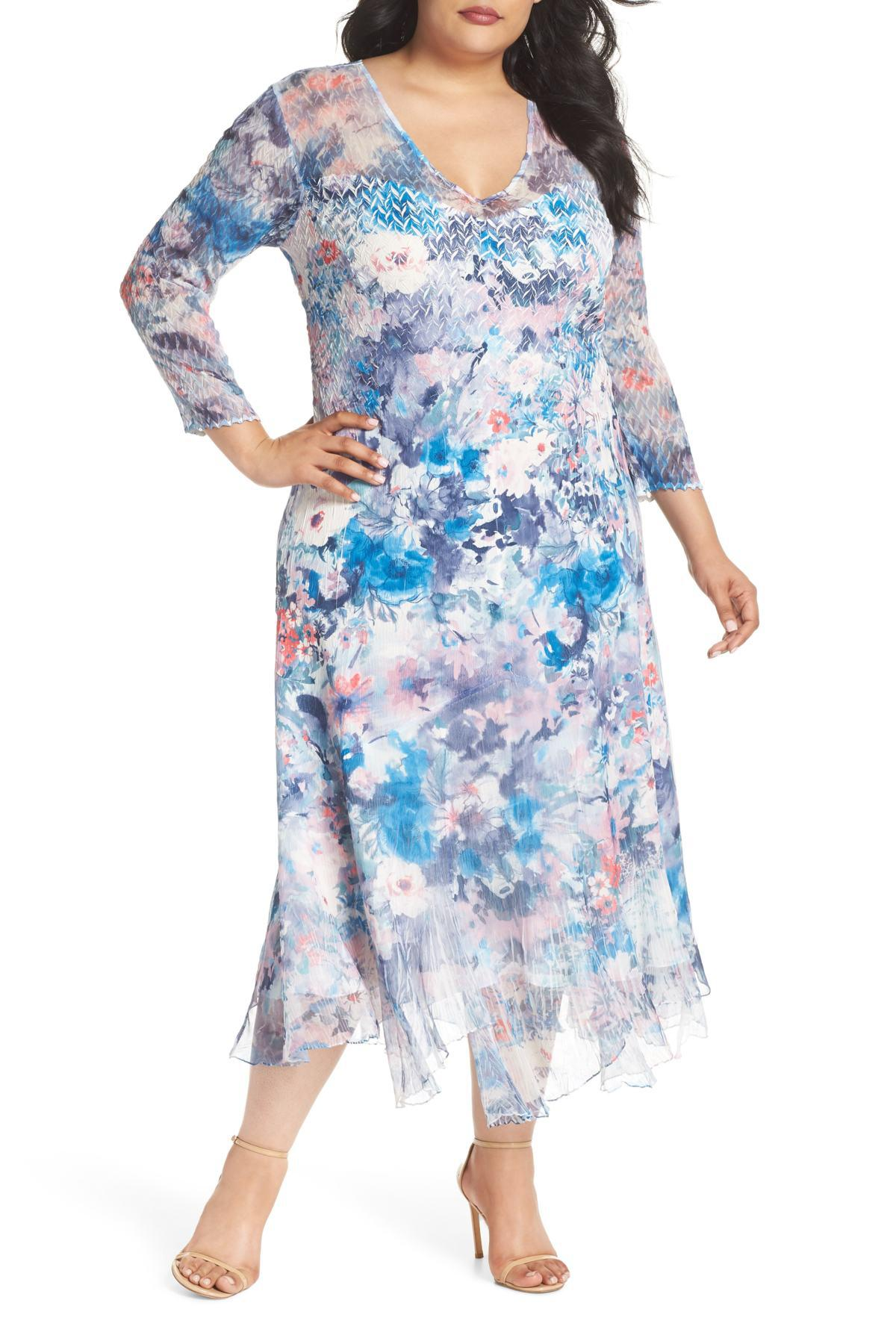 b5a9e521f64d2 Komarov. Women s Blue Inset Floral Charmeuse   Chiffon A-line Dress (plus  Size)
