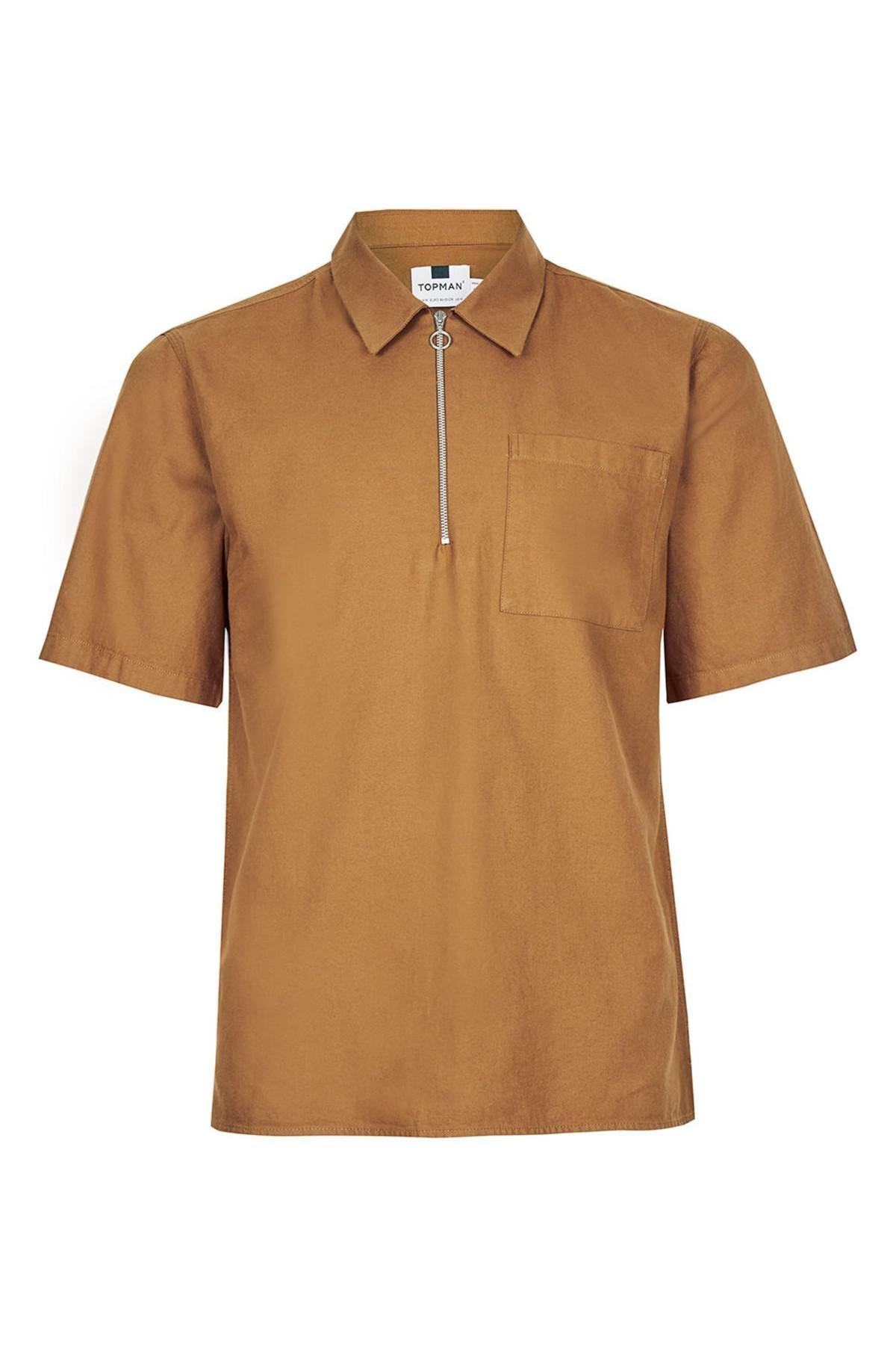 Lyst topman half zip work shirt in brown for men for Dress shirts for athletic build