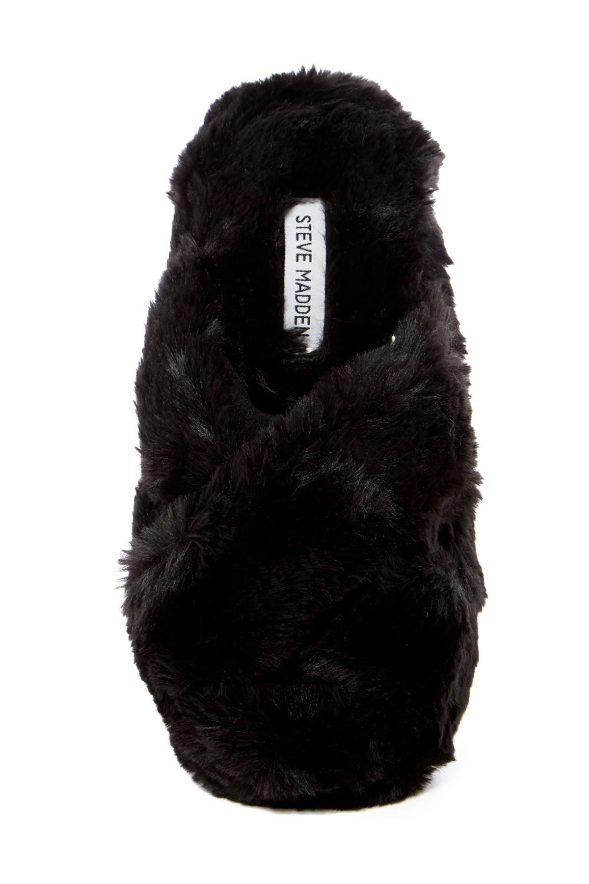 dc068e0a1ee Lyst - Steve Madden Crissy Faux Fur Slipper in Black