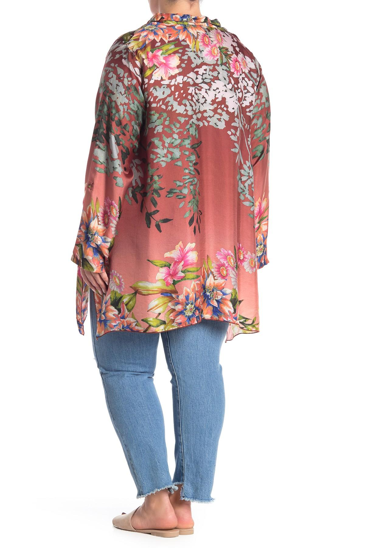 Lyst - Johnny Was Floral Print Silk Tunic (plus Size)