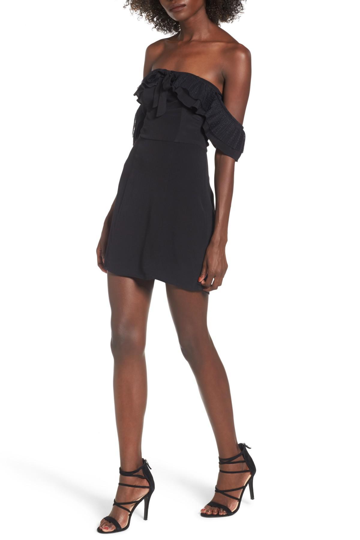 3f2d1541c443 Lyst - For Love & Lemons Claire Off-the-shoulder Minidress in Black