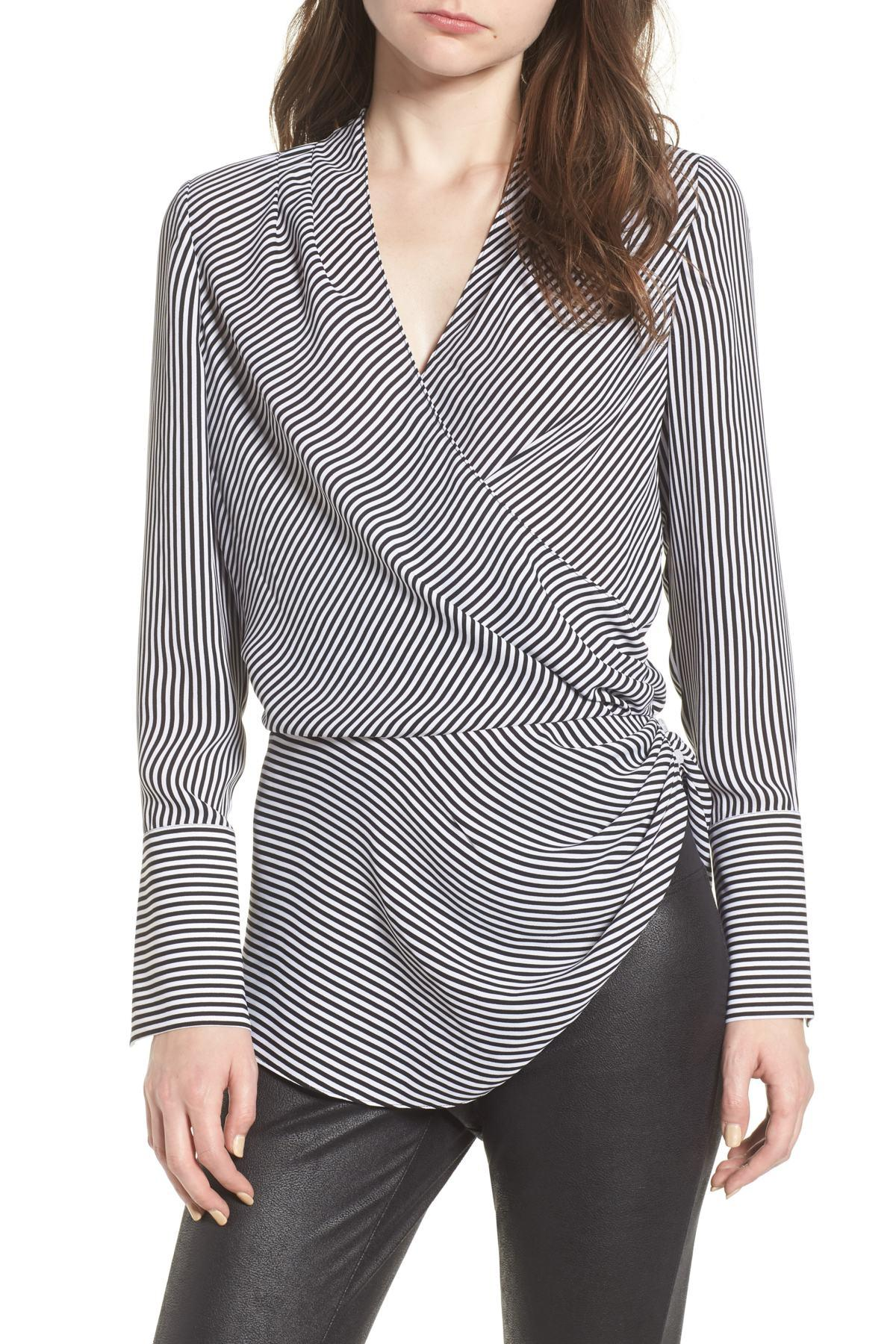 56606d35bef1dd Lyst - Trouvé Long Sleeve Wrap Blouse in Black - Save 38%