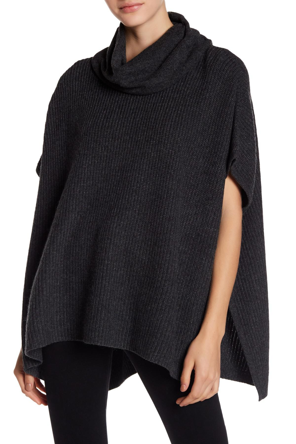 Lucky brand Cowl Neck Poncho Sweater in Black | Lyst