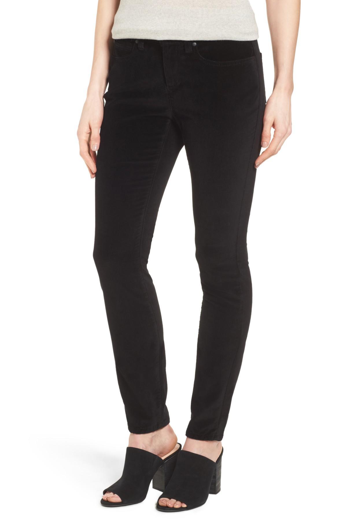 Lyst - Eileen fisher Velvet Skinny Jeans in Black