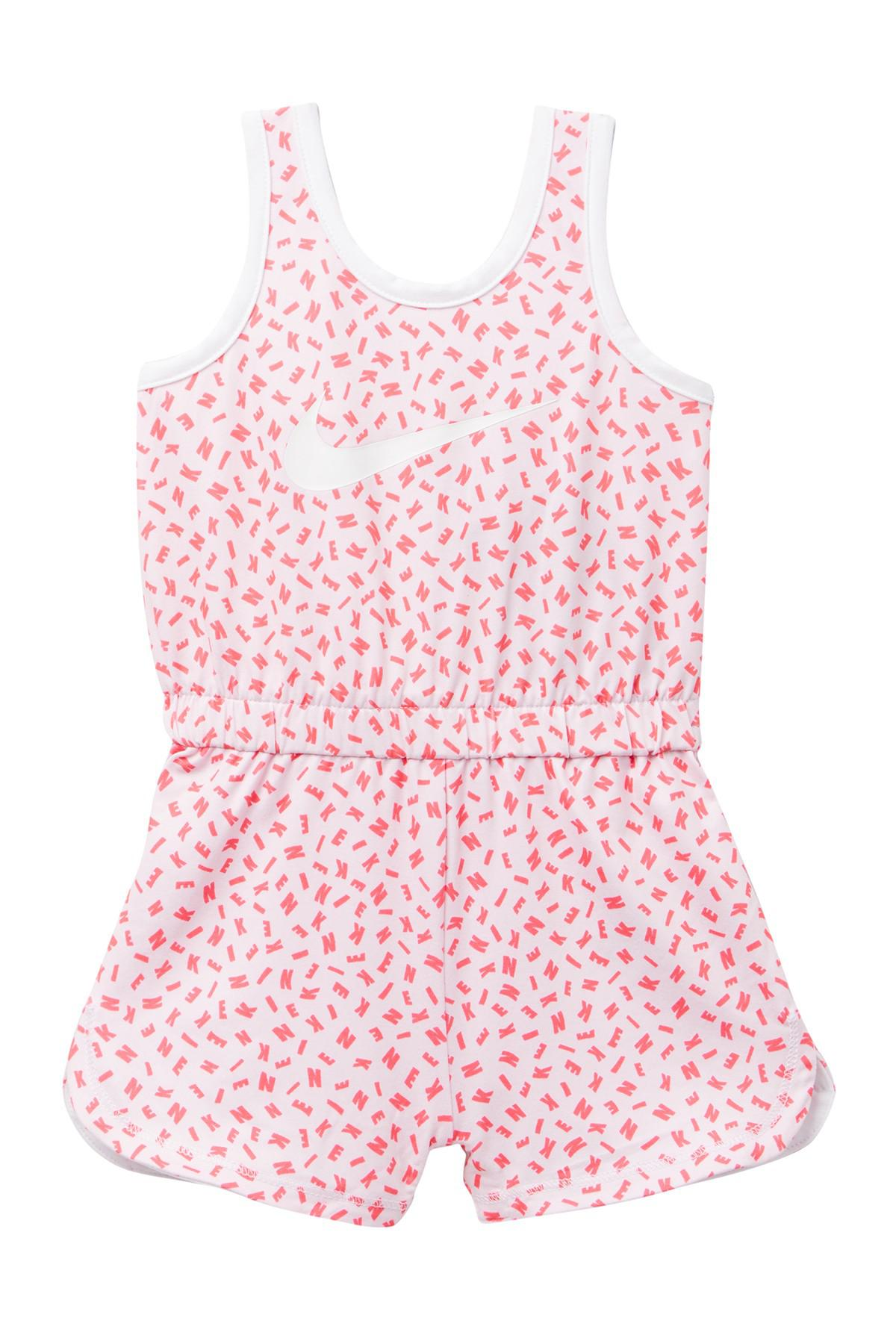 6e672f190872 Lyst - Nike Dri Fit Sport Essentials Printed Romper (baby Girls) in Pink