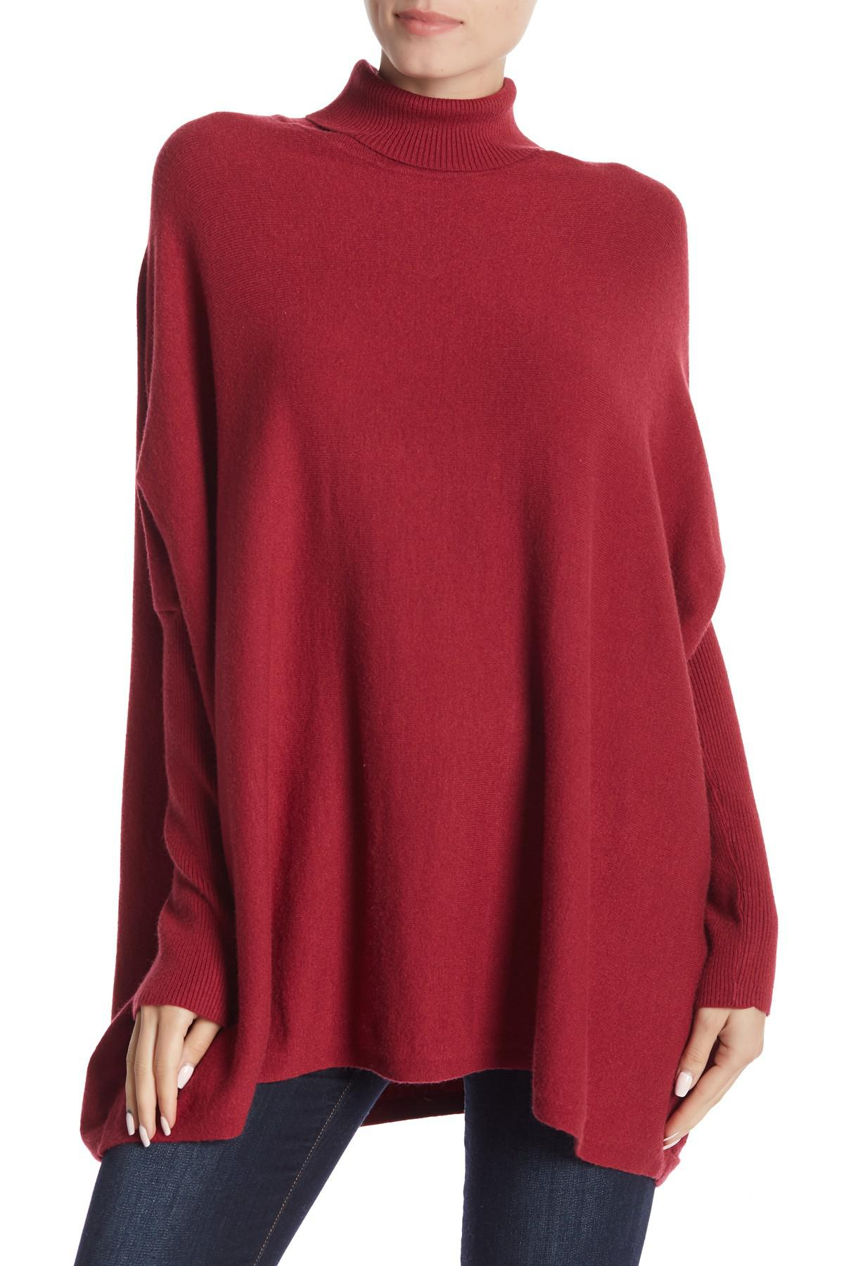 77a7992c3a Lyst - Joseph A Oversized Boxy Long Sleeve Turtleneck Sweater in Red