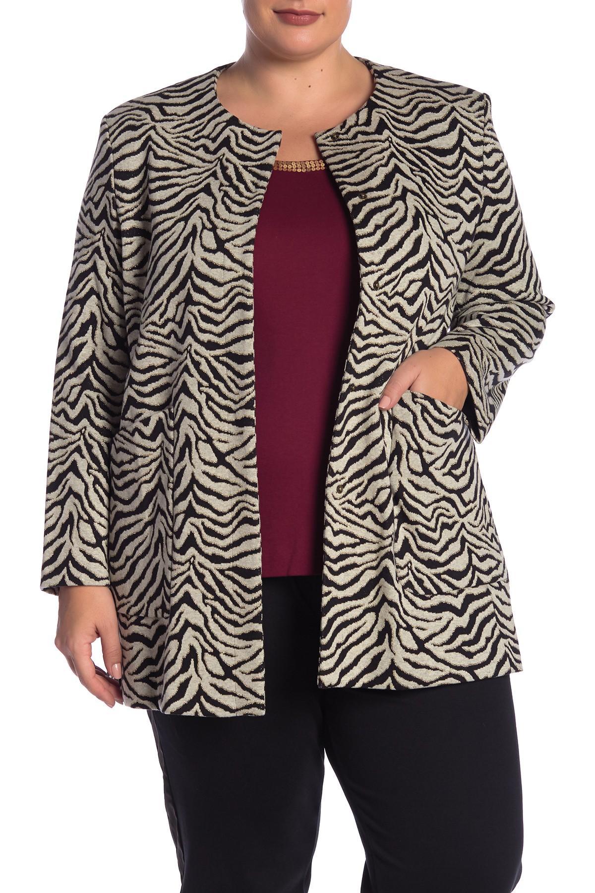 5996276e8448c Joan Vass. Women s Tiger Knit Jacket (plus Size)