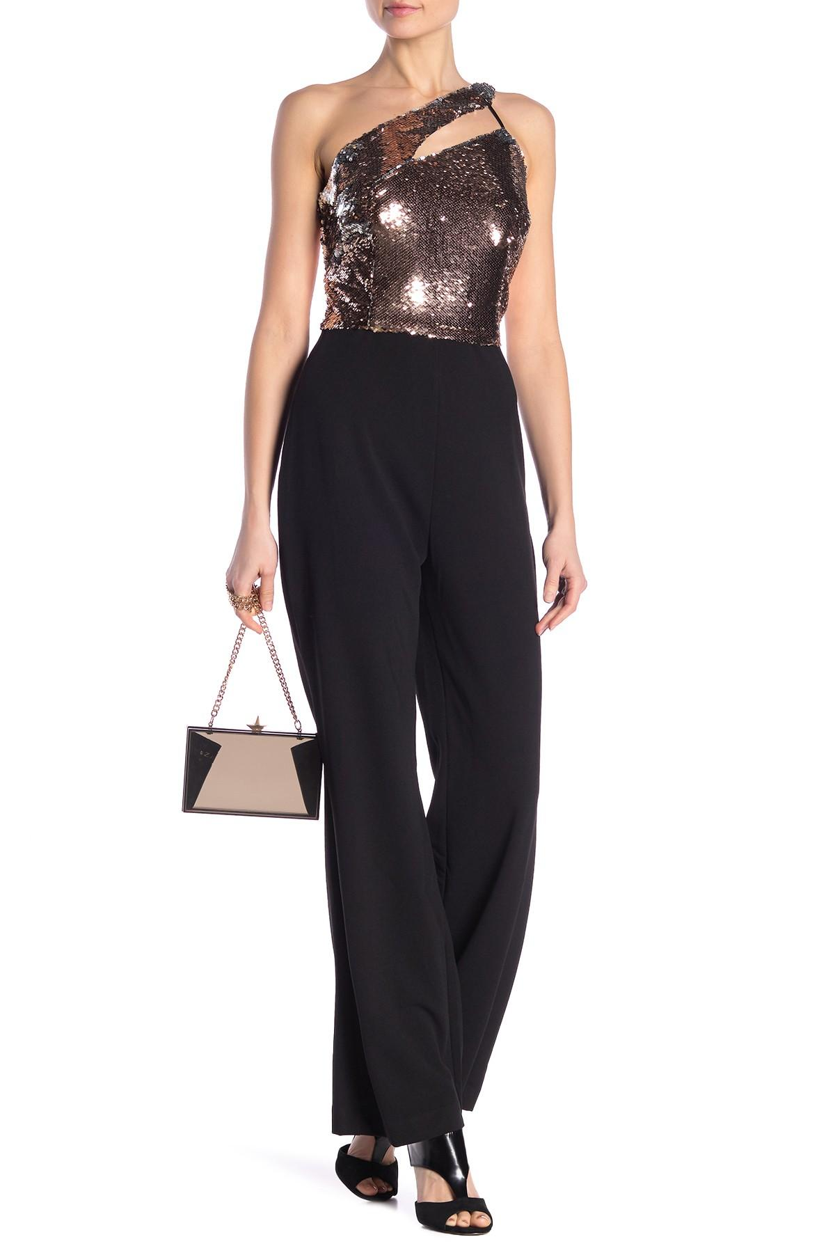 a9902ec8881f Lyst - Alexia Admor One Shoulder Sequin Jumpsuit in Black - Save 28%