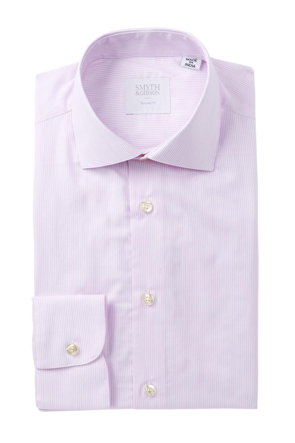 Lyst smyth gibson dobby micro stripe tailored fit for Nordstrom custom dress shirts