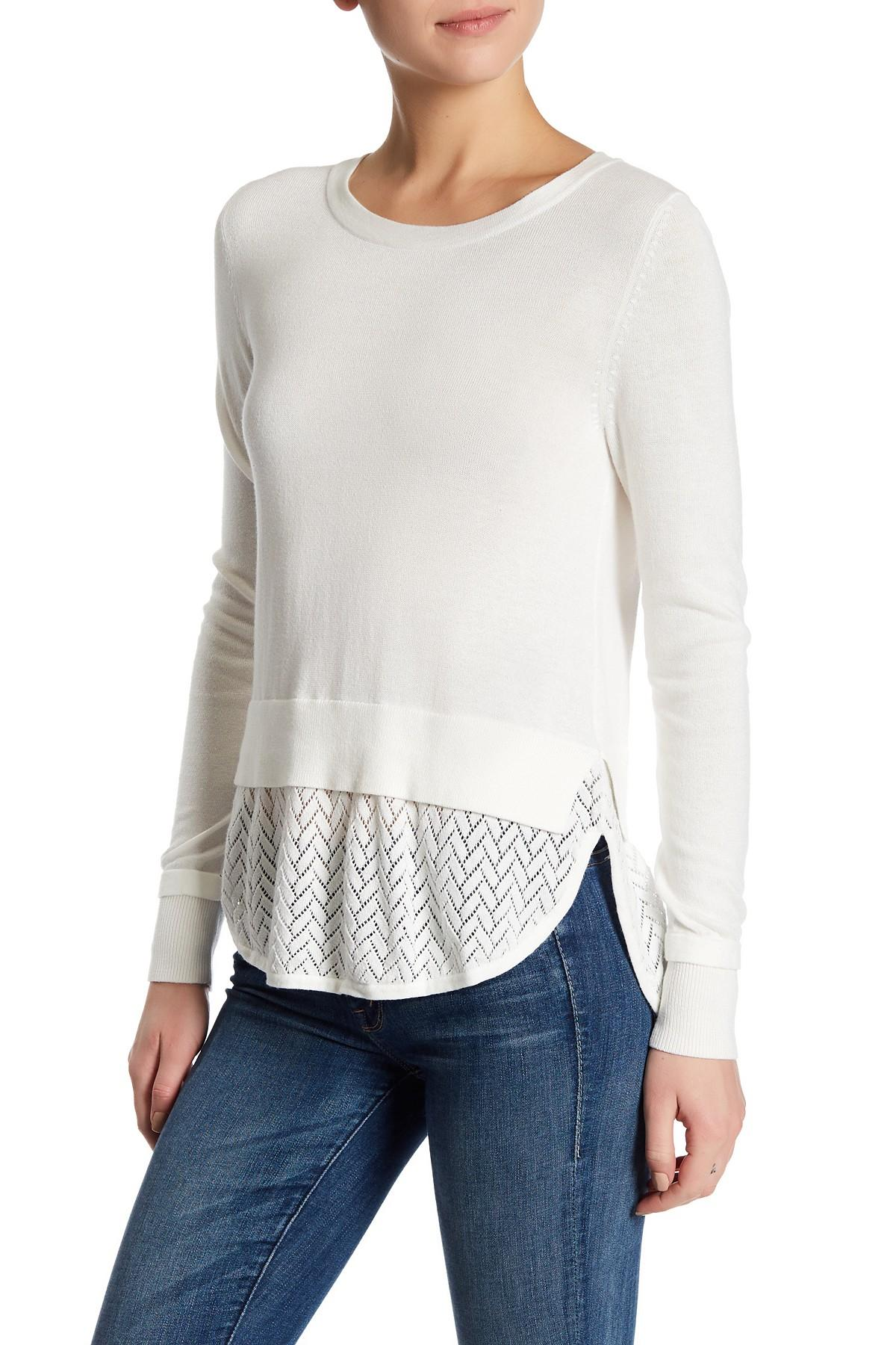 Lyst french connection long sleeve knit shirt in white for French cut shirt sleeve