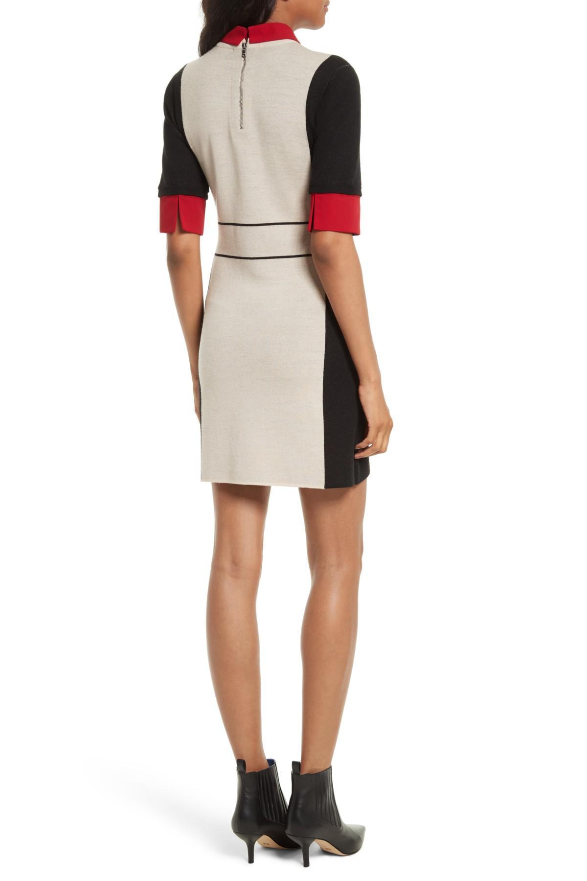 44b8d2069c Lyst - Alice + Olivia Mia Contrast Trim Sweater Dress