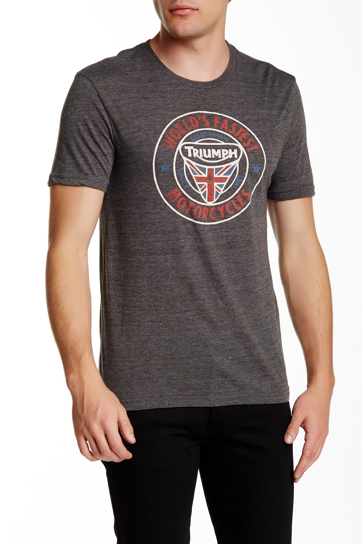 Lyst lucky brand triumph tee in gray for men for Lucky brand triumph shirt
