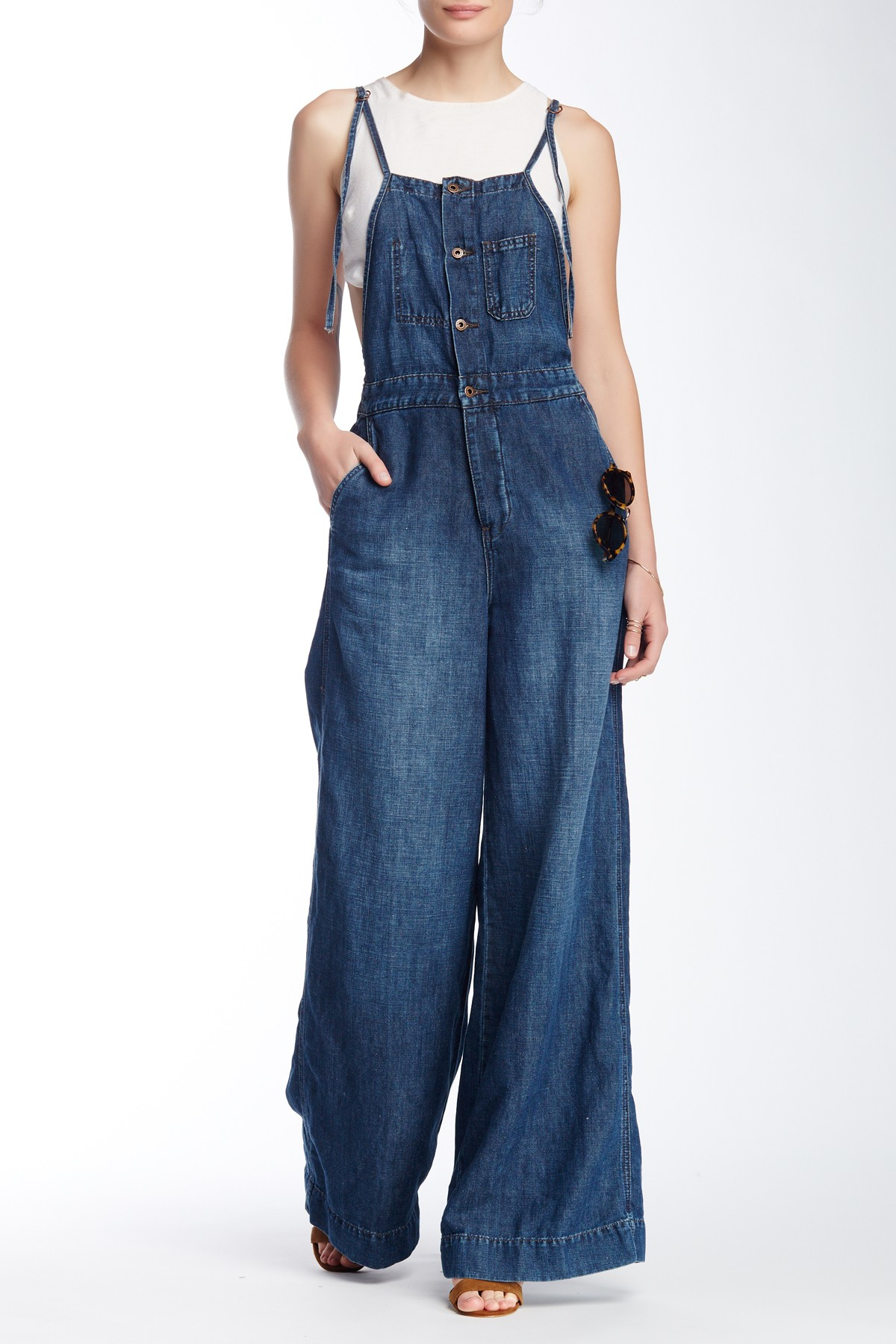 Lyst Lucky Brand Wide Leg Jumpsuit In Blue