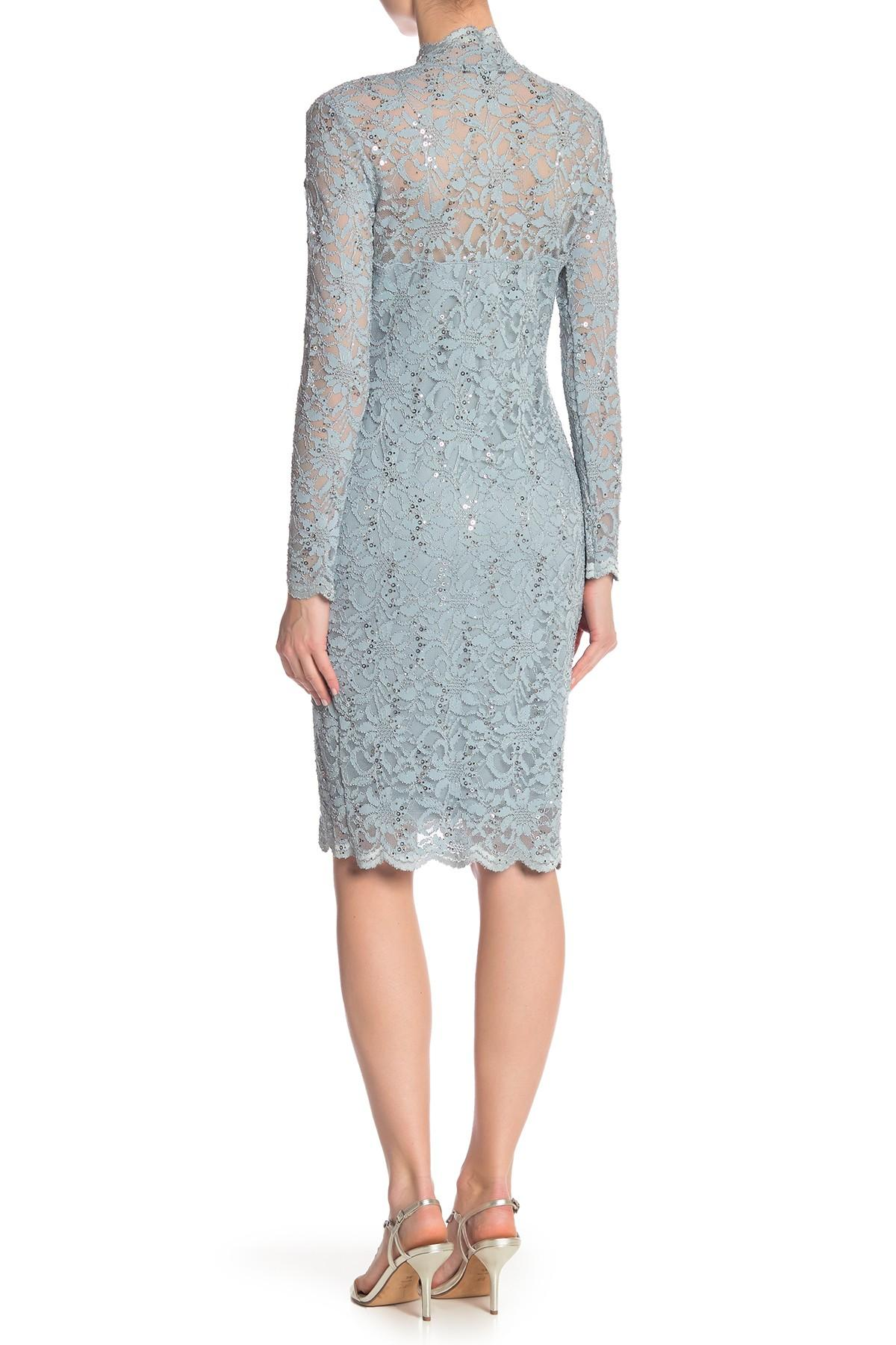 4cc818c51636 Marina - Blue Scalloped Sequined Lace Dress - Lyst. View fullscreen