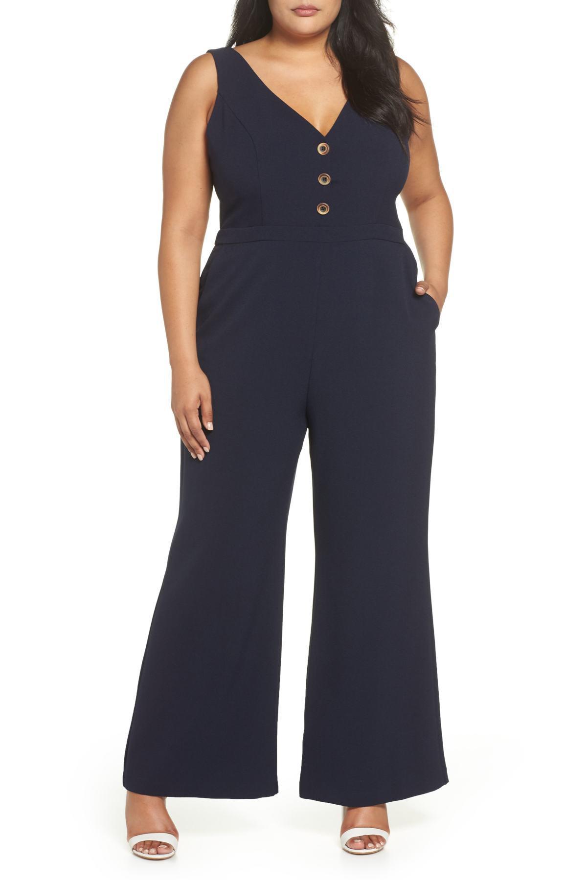 54221f42cc5 Lyst - Chelsea28 Button Front Jumpsuit (plus Size) in Blue