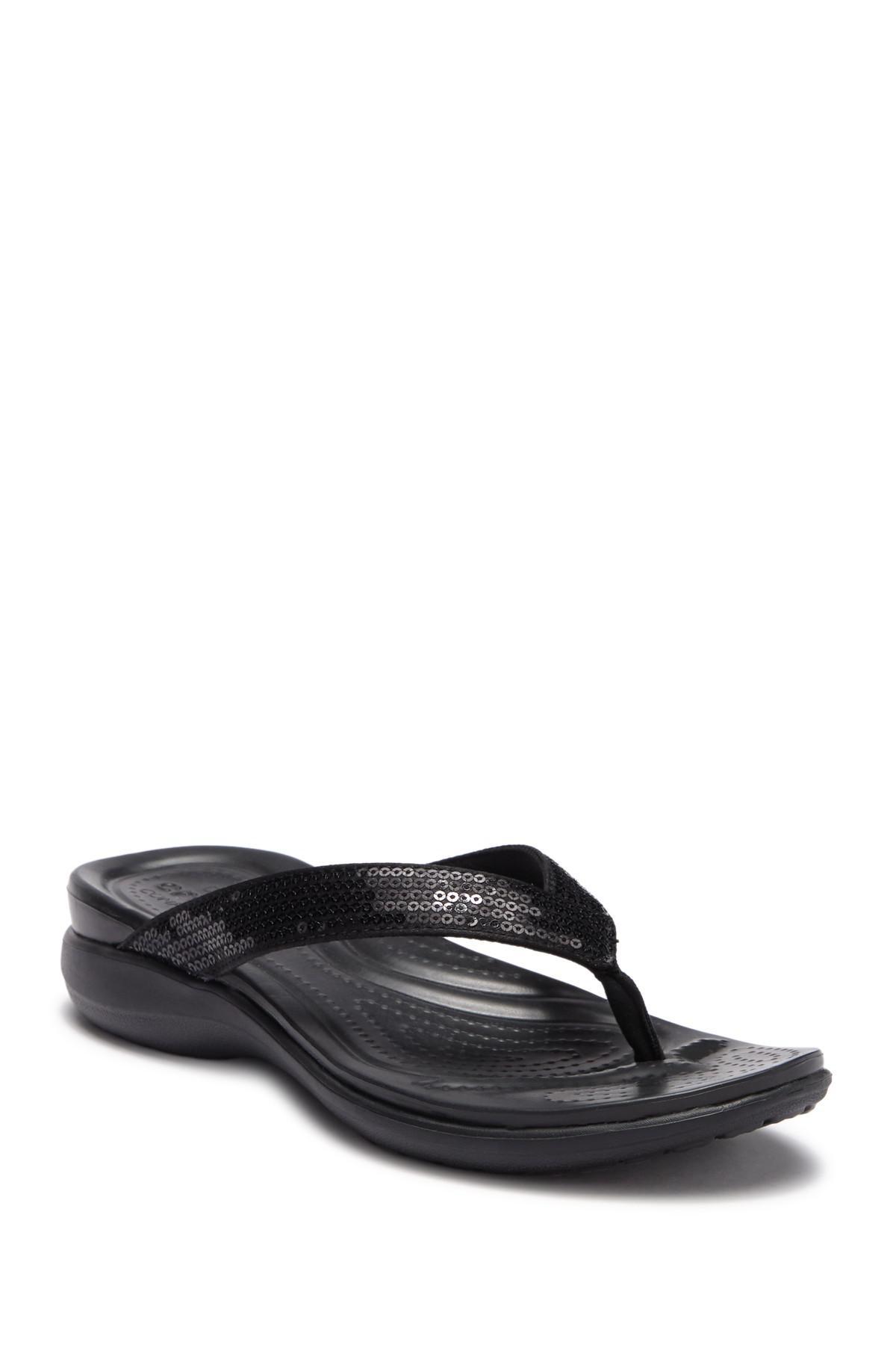 86cafbf0eb7 Lyst - Crocs™ Capri V Sequin Flip Flop