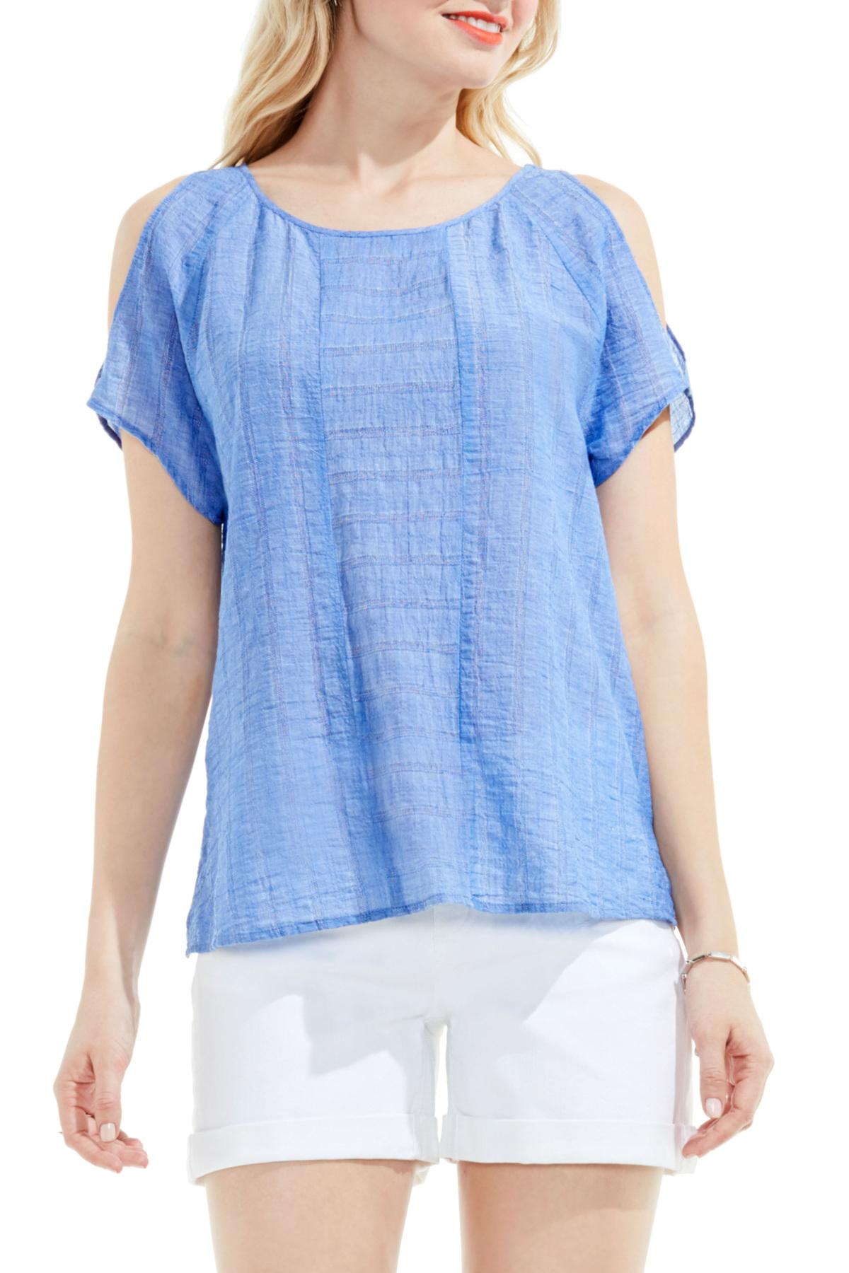 e21a83a203e2f Lyst - Two By Vince Camuto Stripe Gauze Cold Shoulder Top in Blue