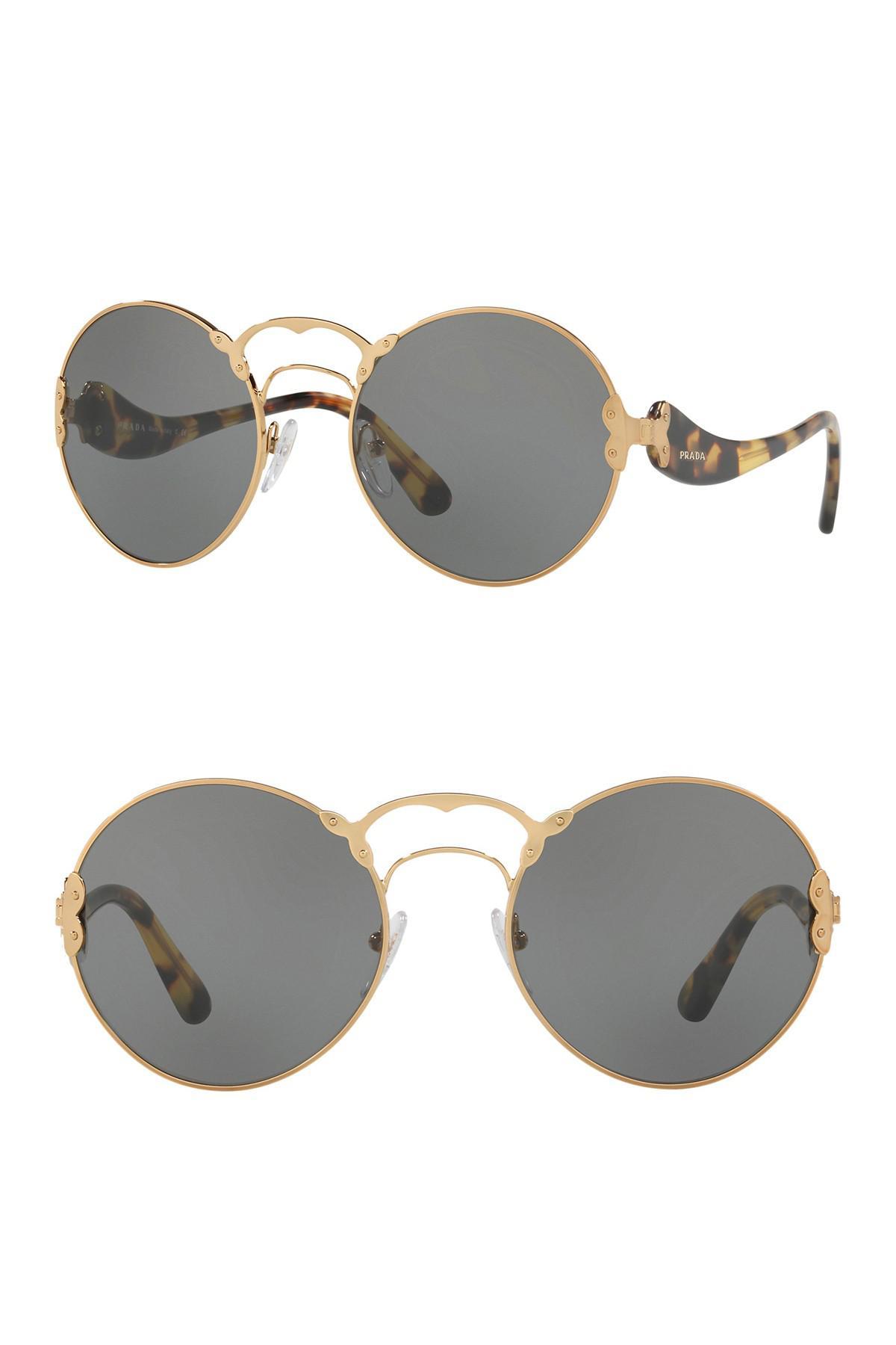 e31f53ec157 ... low price prada round catwalk 57mm sunglasses for men lyst 70d1c 0861e