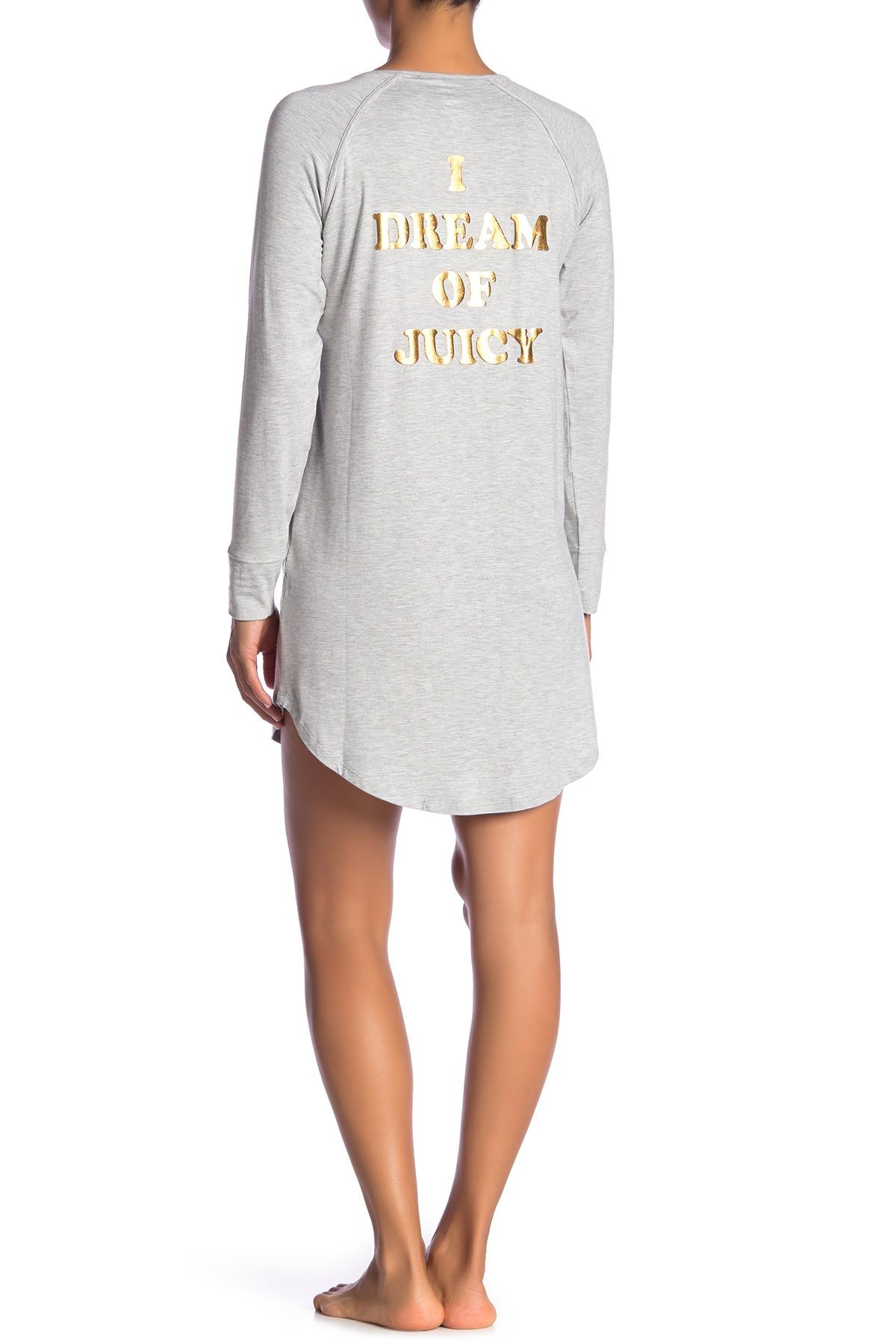 adfd74e864ec Lyst - Juicy Couture I Dream Of Juicy Pajama Shirt in Gray