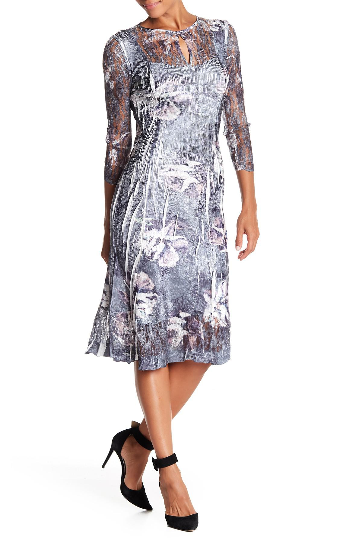 Lyst Komarov 34 Sleeve Keyhole Dress
