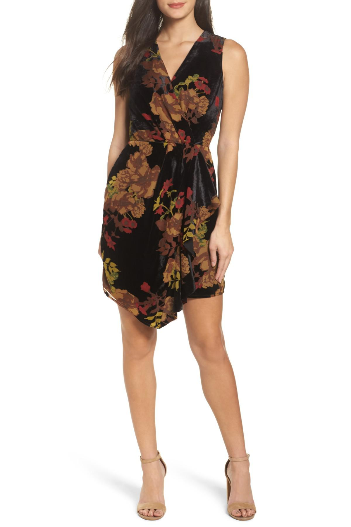 ab9d8446 Adelyn Rae Alyse Faux Wrap Velvet Dress in Black - Lyst