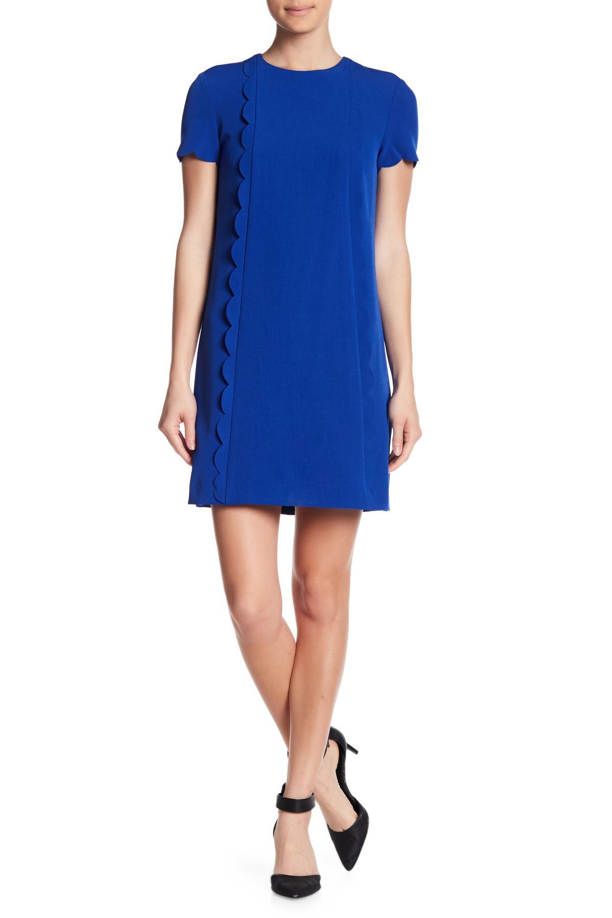 55b4edd4b99a8 Tahari Scalloped Short Sleeve Shift Dress in Blue - Lyst
