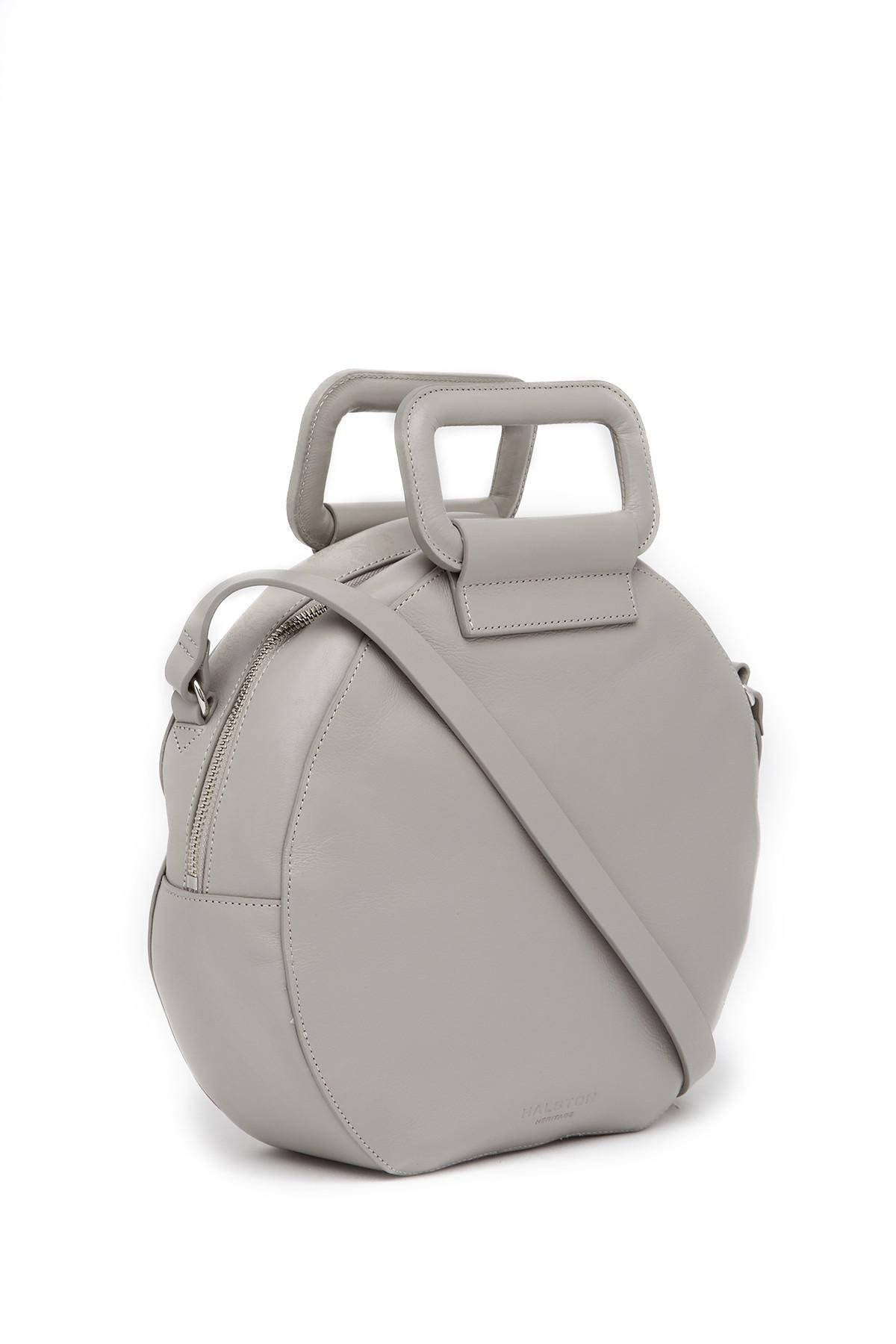 aa81c5af99 Lyst - Halston Leather Handle Circle Crossbody Bag in Gray