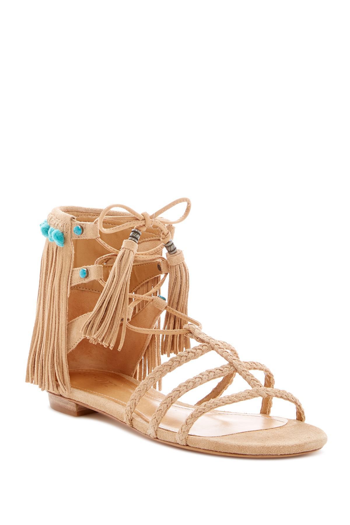 954d0c442bb Lyst - Schutz Shuli Fringe Gladiator Sandal in Brown