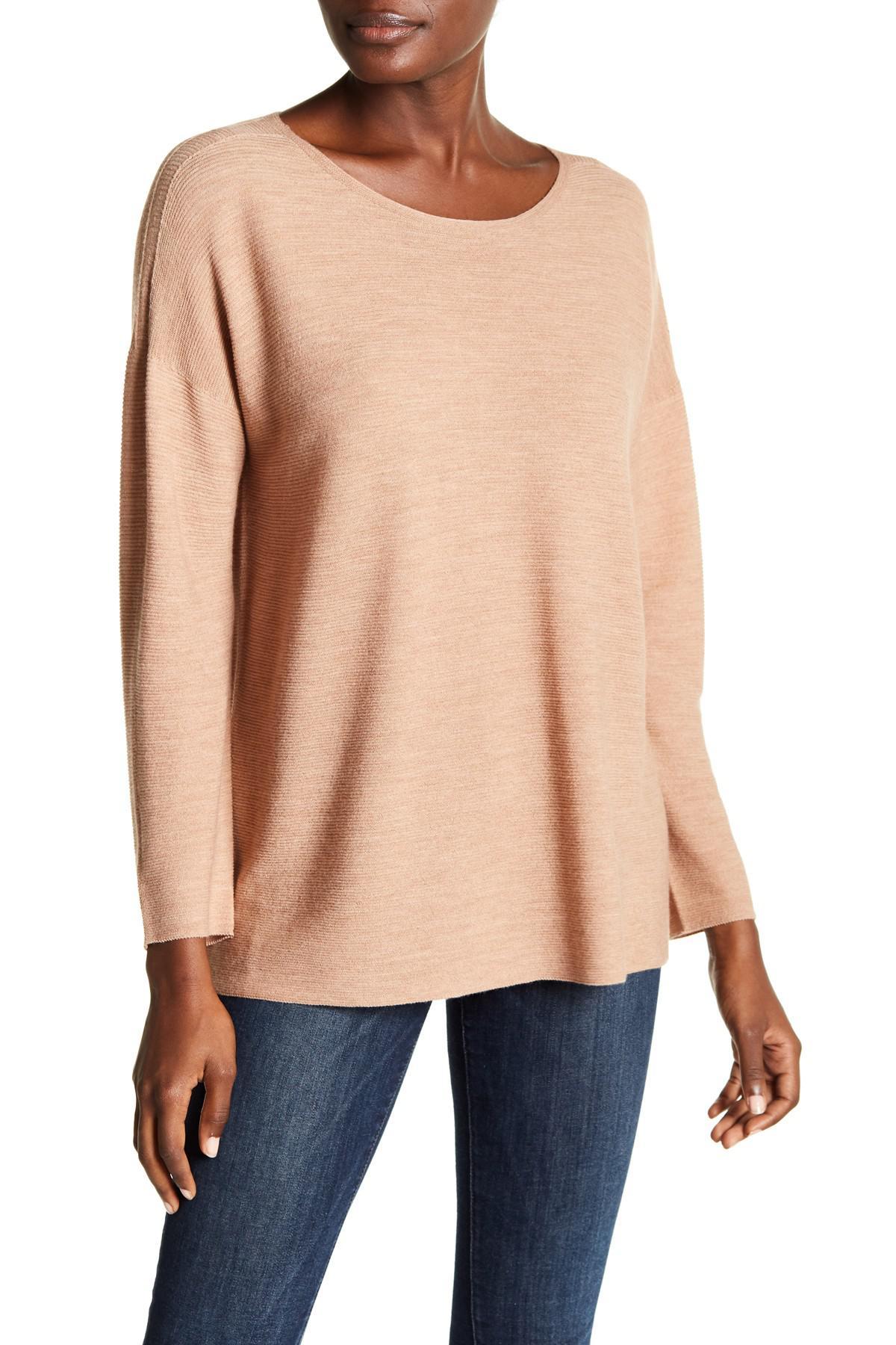 Wool Sweater Grey: Eileen Fisher Boxy Draped Wool Sweater