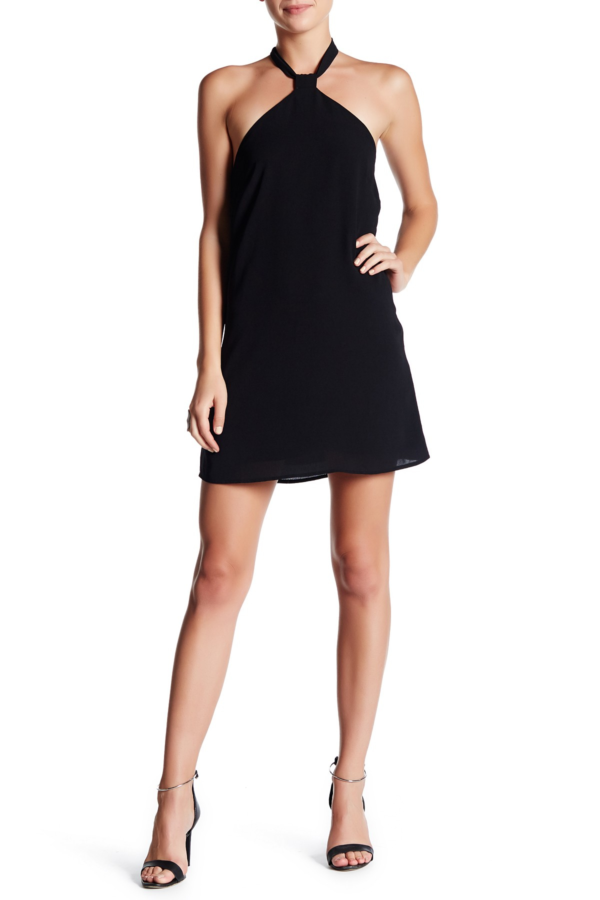 Endless rose halter mini dress in black lyst for Nordstrom rack dresses pour mariage