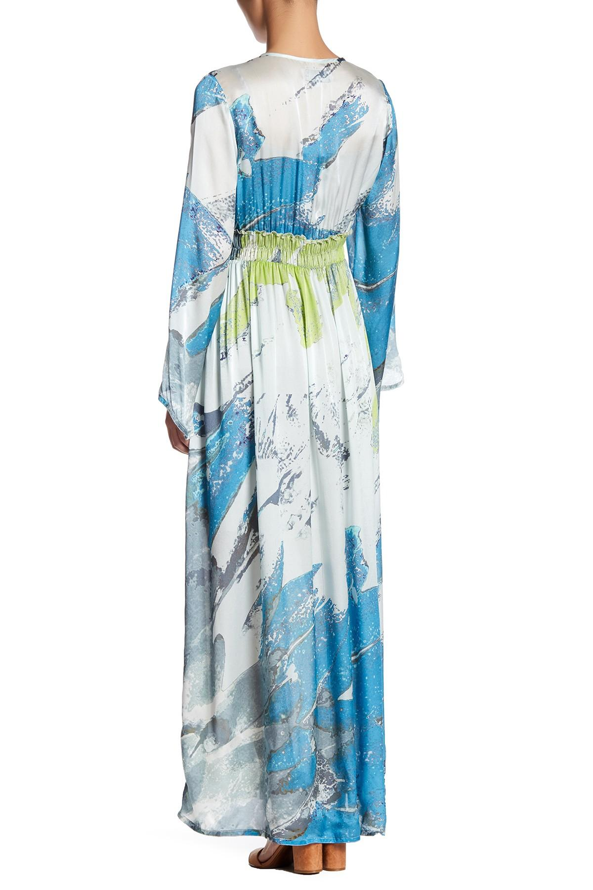Johnny was silk bell sleeve maxi dress in blue lyst for Johnny was silk shirt