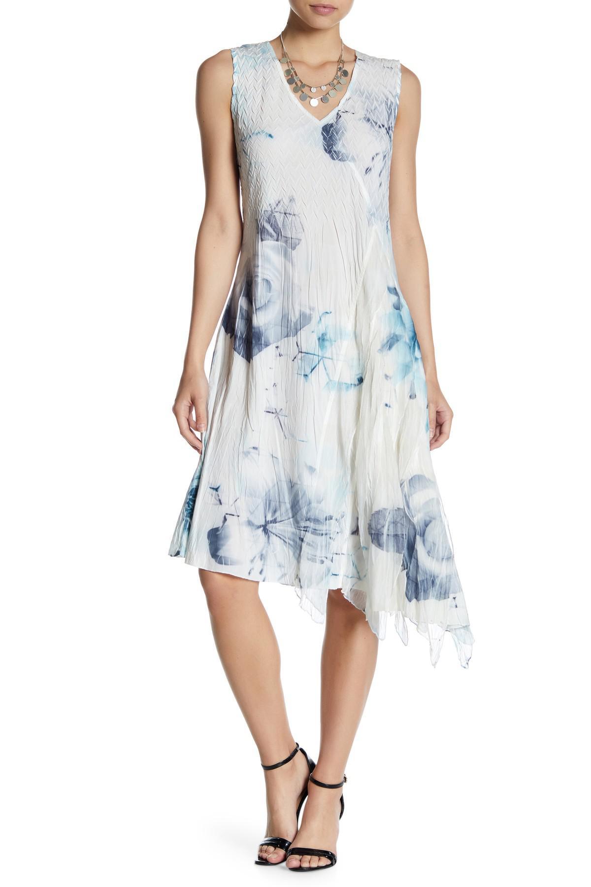 3d7651f9a9 Lyst - Komarov Asymmetrical Hem Print Dress in Blue