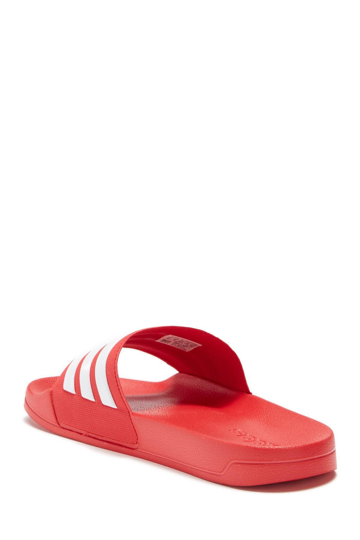 b923151c7ee4e7 Adidas - Red Adilette Shower Sandal for Men - Lyst. View fullscreen