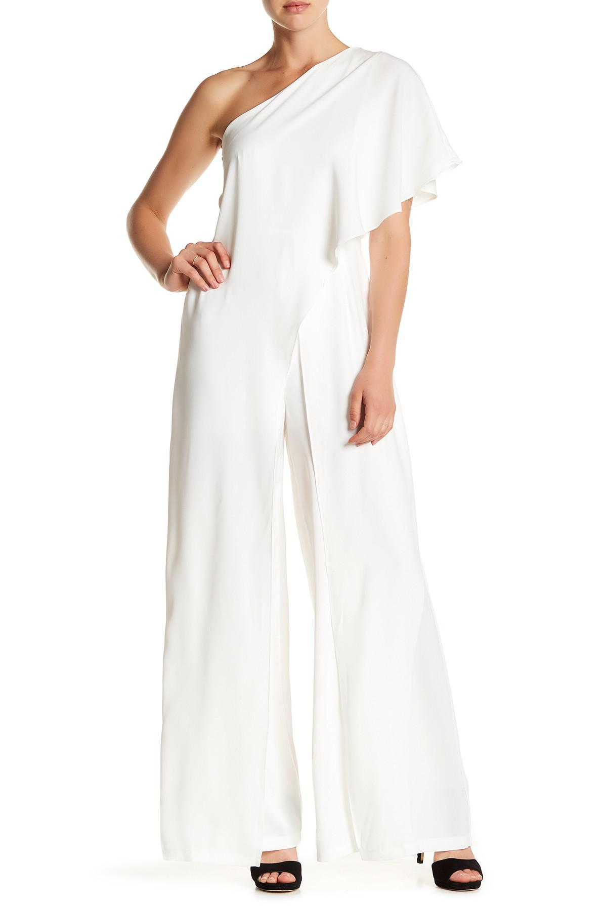 807c471b1ac Lyst - Gracia One-shoulder Ruffle Layer Jumpsuit in White