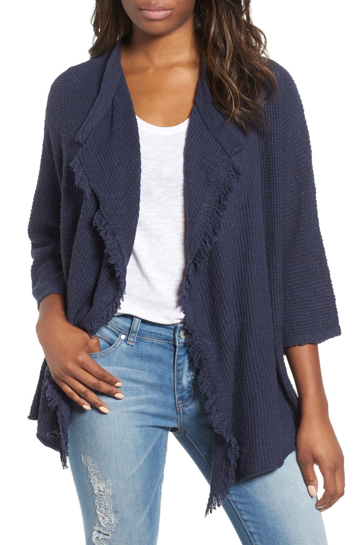 cc736f329 Caslon. Women s Blue (r) Drape Front Cotton Blend Cardigan (regular   Petite )