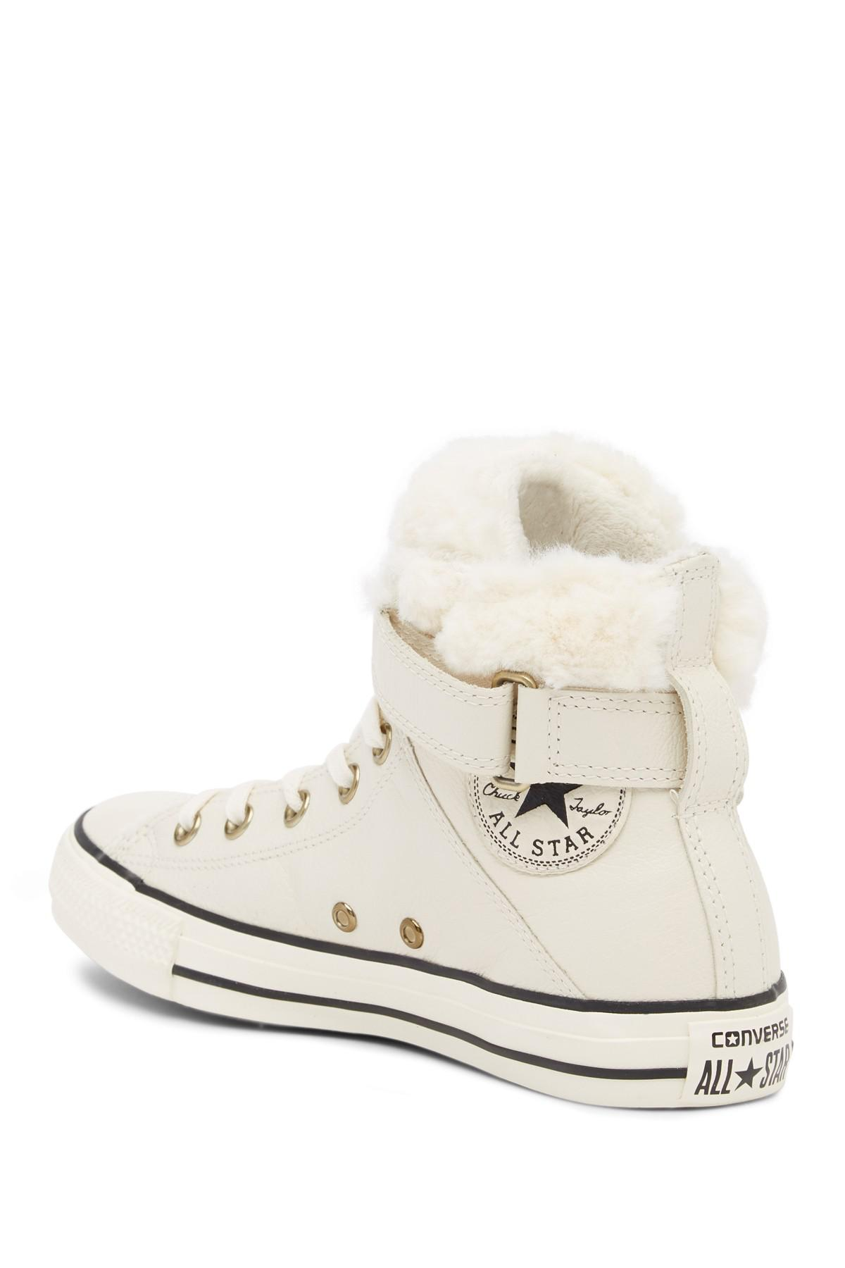 f80258760690 Lyst - Converse Chuck Taylor All Star Brea Leather   Faux Fur High ...