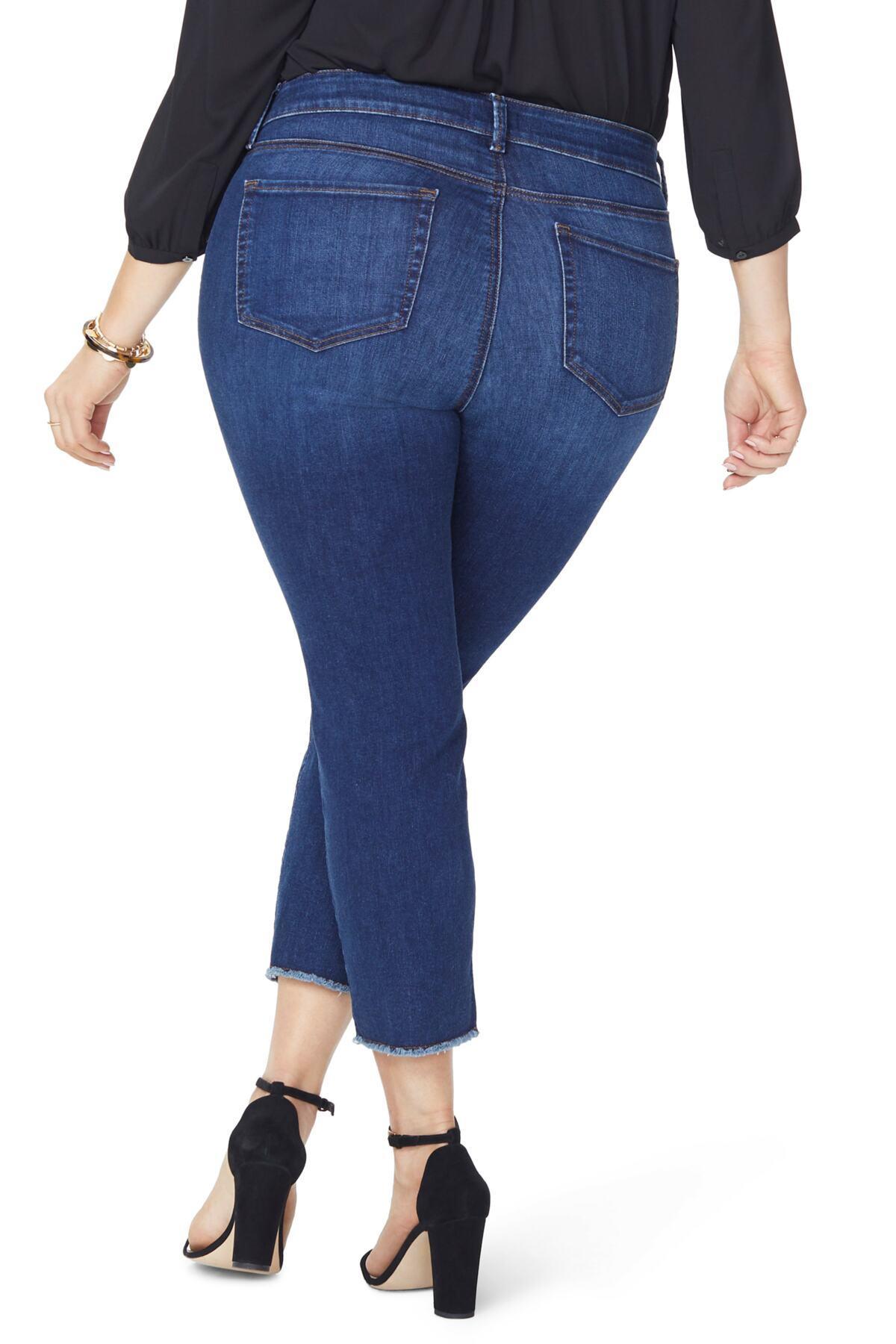 8adbc0ec7d1a6 NYDJ - Blue Sheri High Rise Fray Hem Stretch Slim Ankle Jeans (plus Size).  View fullscreen