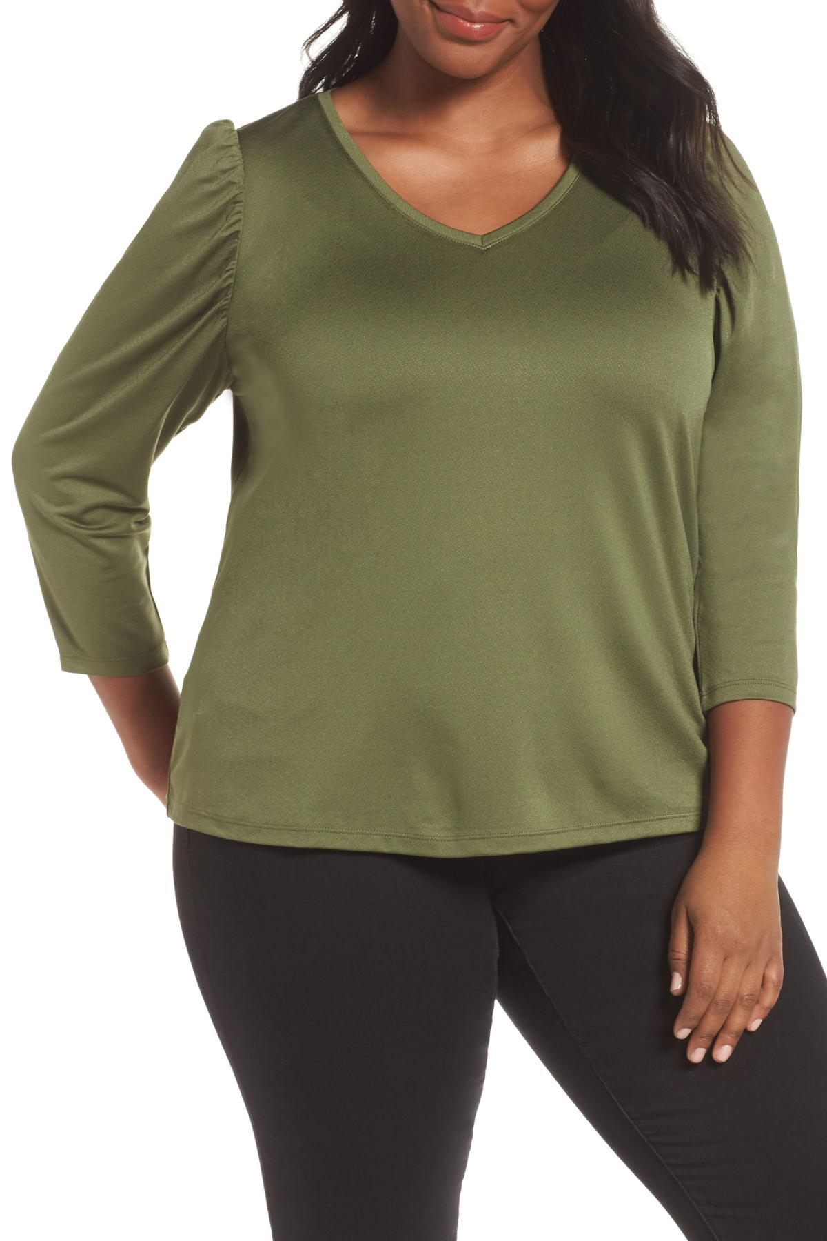 b640d1a0f9582 Lyst - Sejour V-neck Puff Shoulder Top (plus Size) in Green