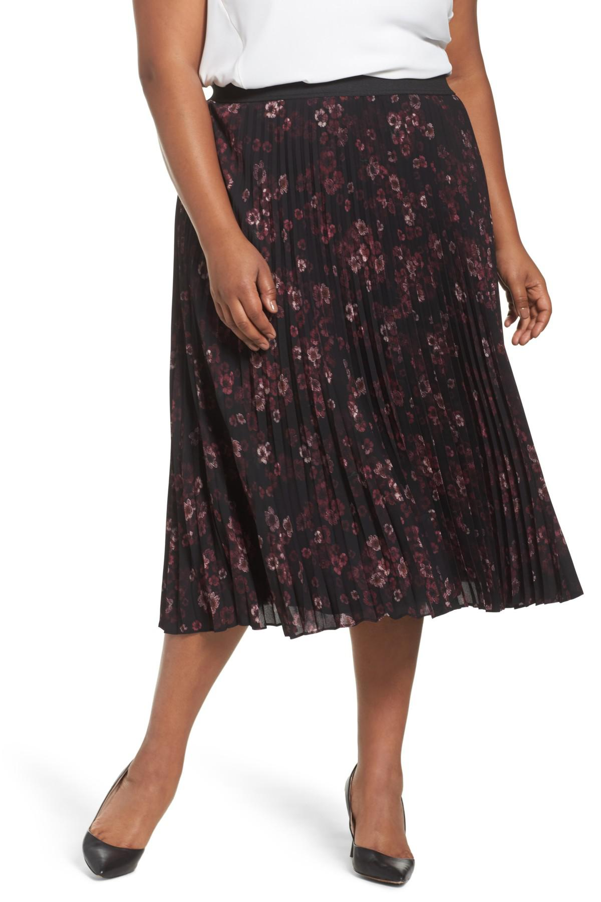 sejour pleated midi skirt plus size in black lyst