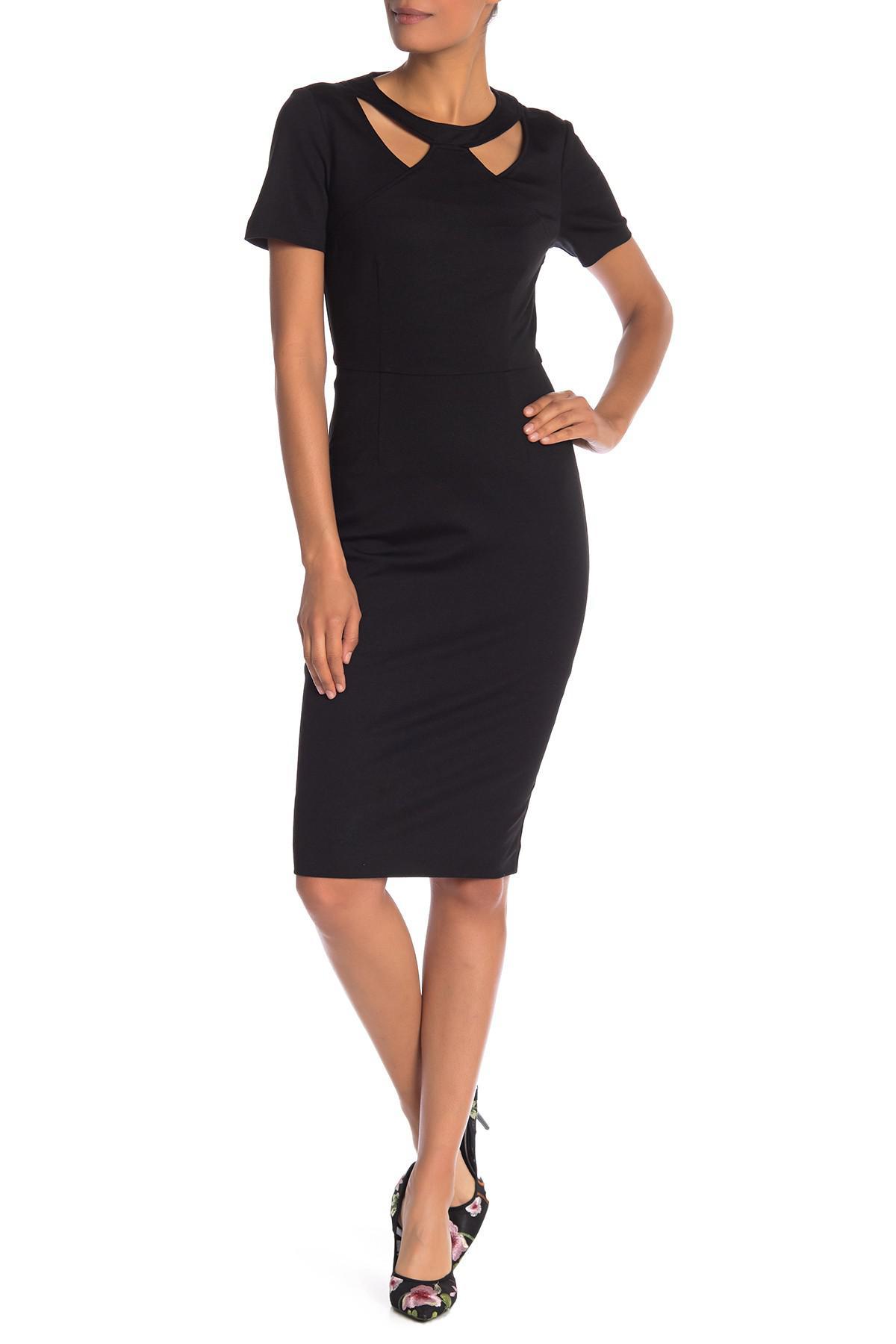 dcdb7c01b30 Lyst - Trina Turk Caladium Cutout Sheath Midi Dress in Black
