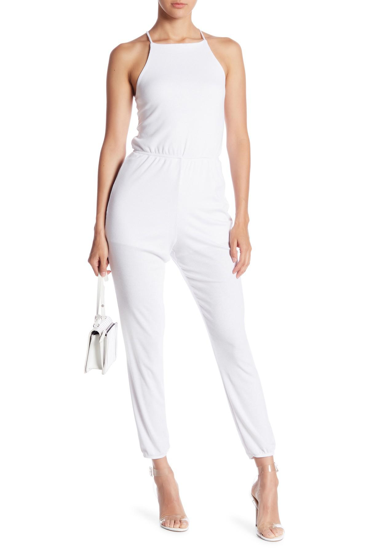e2b0b661709 Lyst - Honey Punch Ribbed Knit Jumpsuit in White