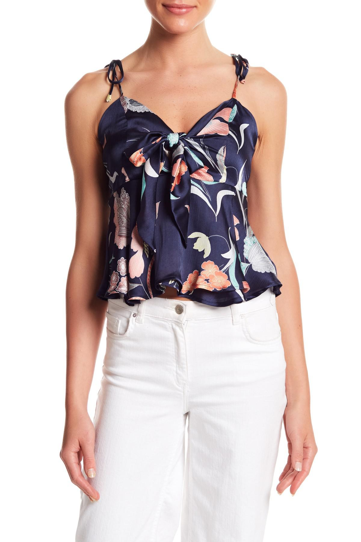 d08d1f048cc Lyst - Honey Punch Floral Print Tie Front Tank Top in Blue