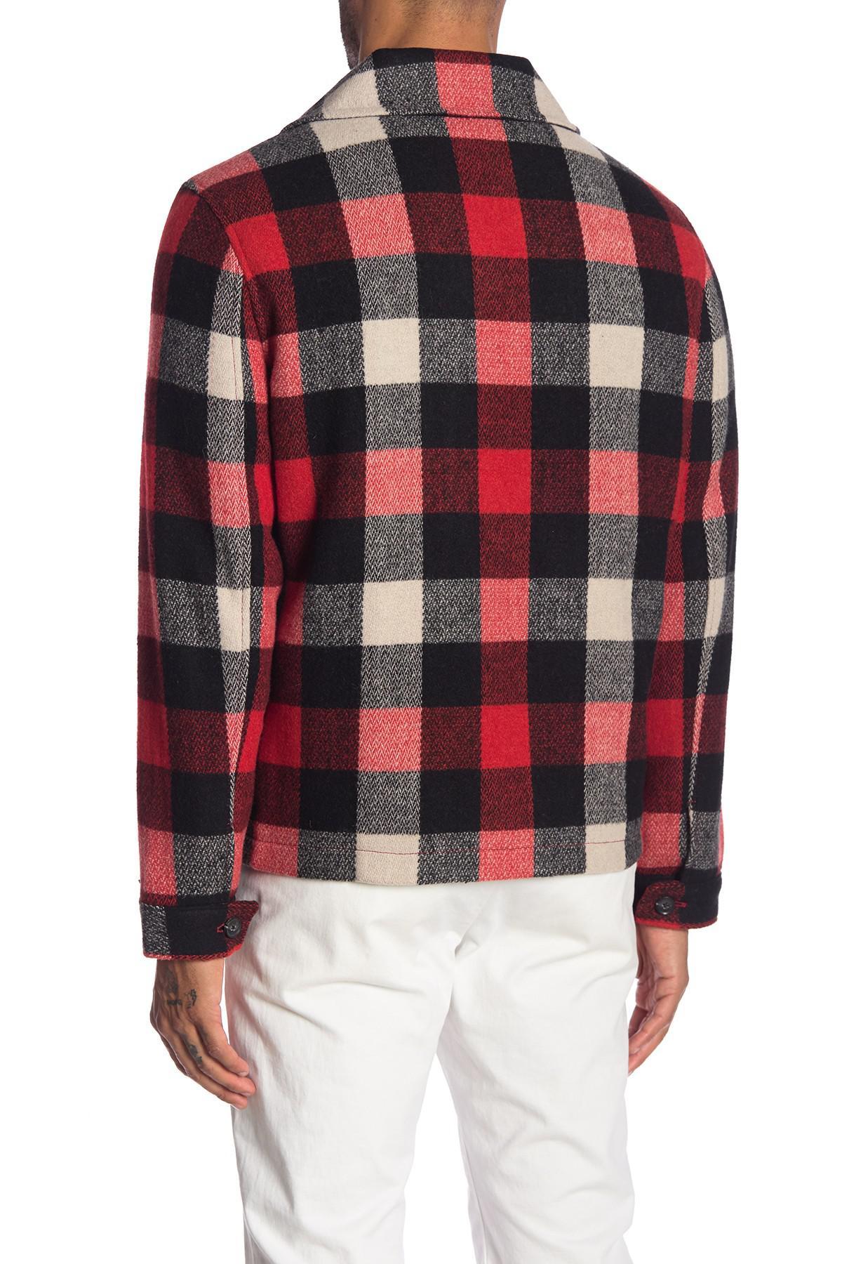 9d491f388a85a Lyst - Calvin Klein Mackinaw Harrington Plaid Jacket in Red for Men