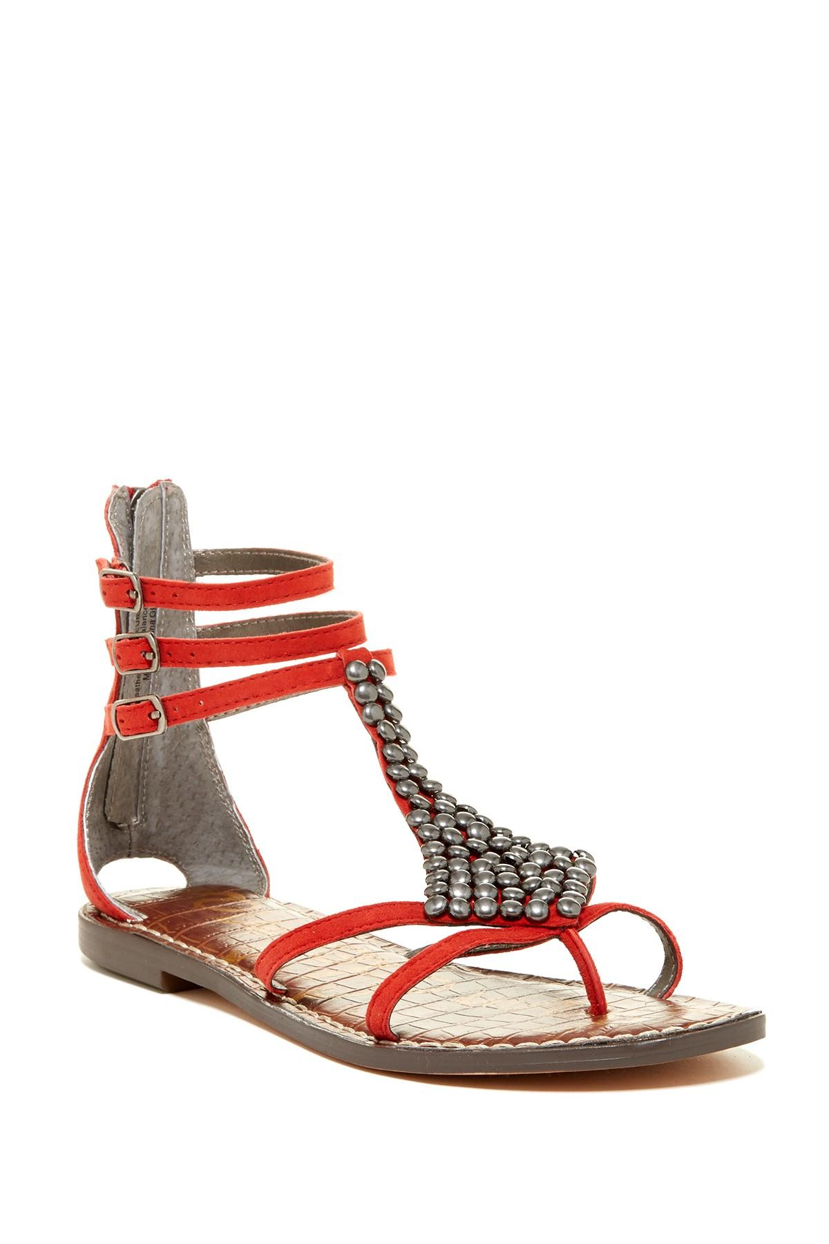 5beab23cf39 Lyst - Sam Edelman Ginger Gladiator Flat in Red