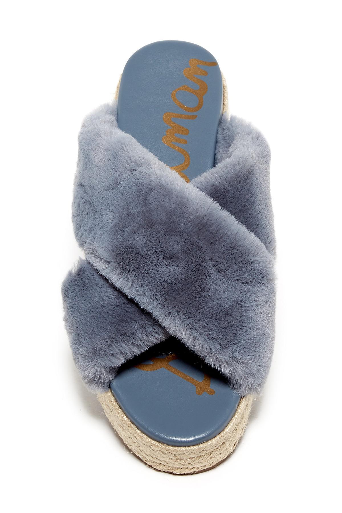 12da8050453 Lyst - Sam Edelman Zia Faux Fur Platform Sandal in Blue