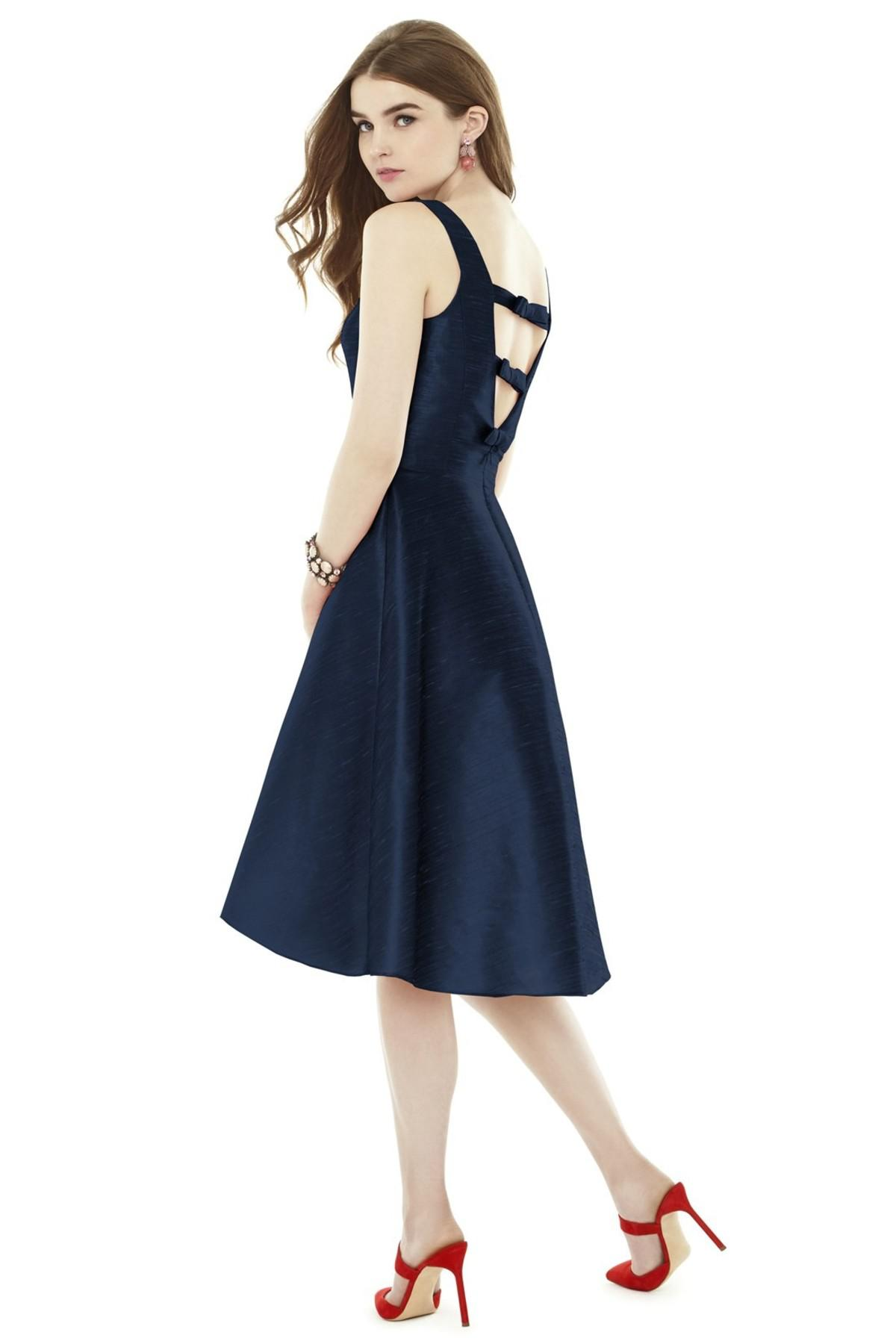 Lyst - Alfred Sung Bow Back Dupioni Fit & Flare Midi Dress in Blue